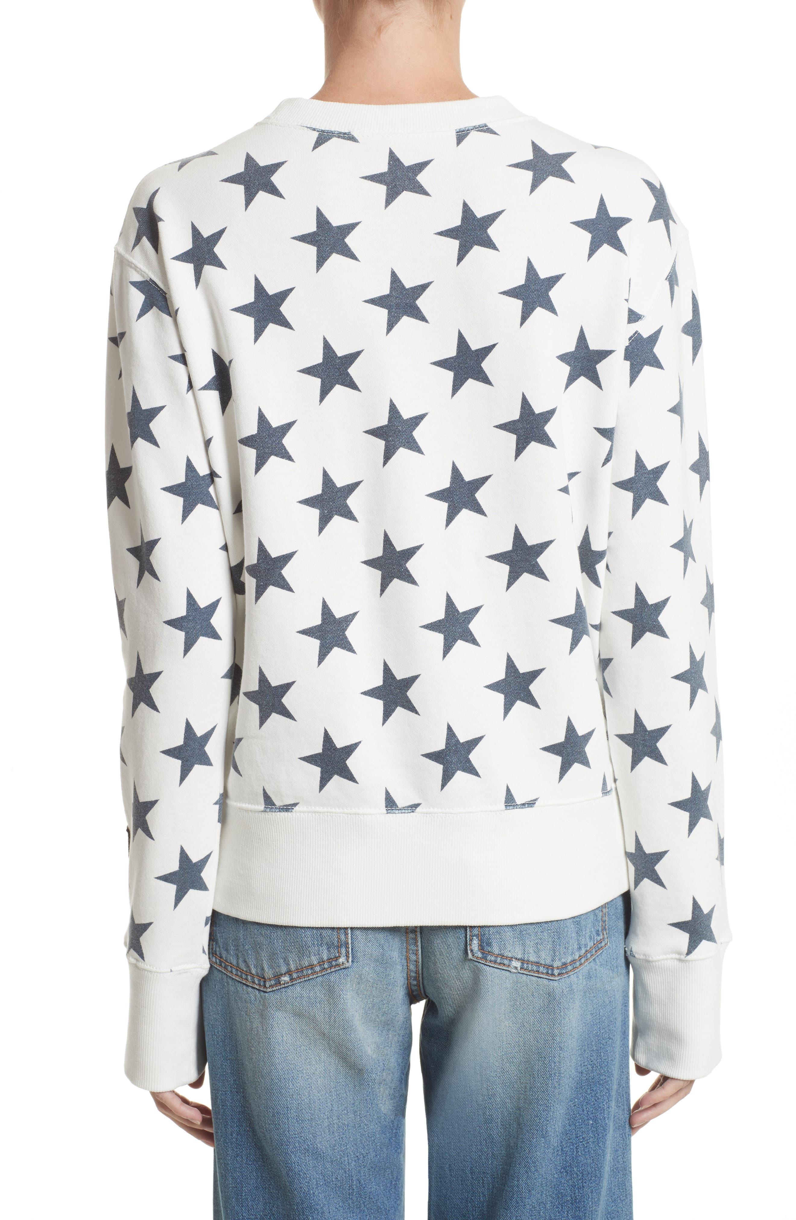 '90s Star Print Sweatshirt,                             Alternate thumbnail 2, color,                             Ivory Multi