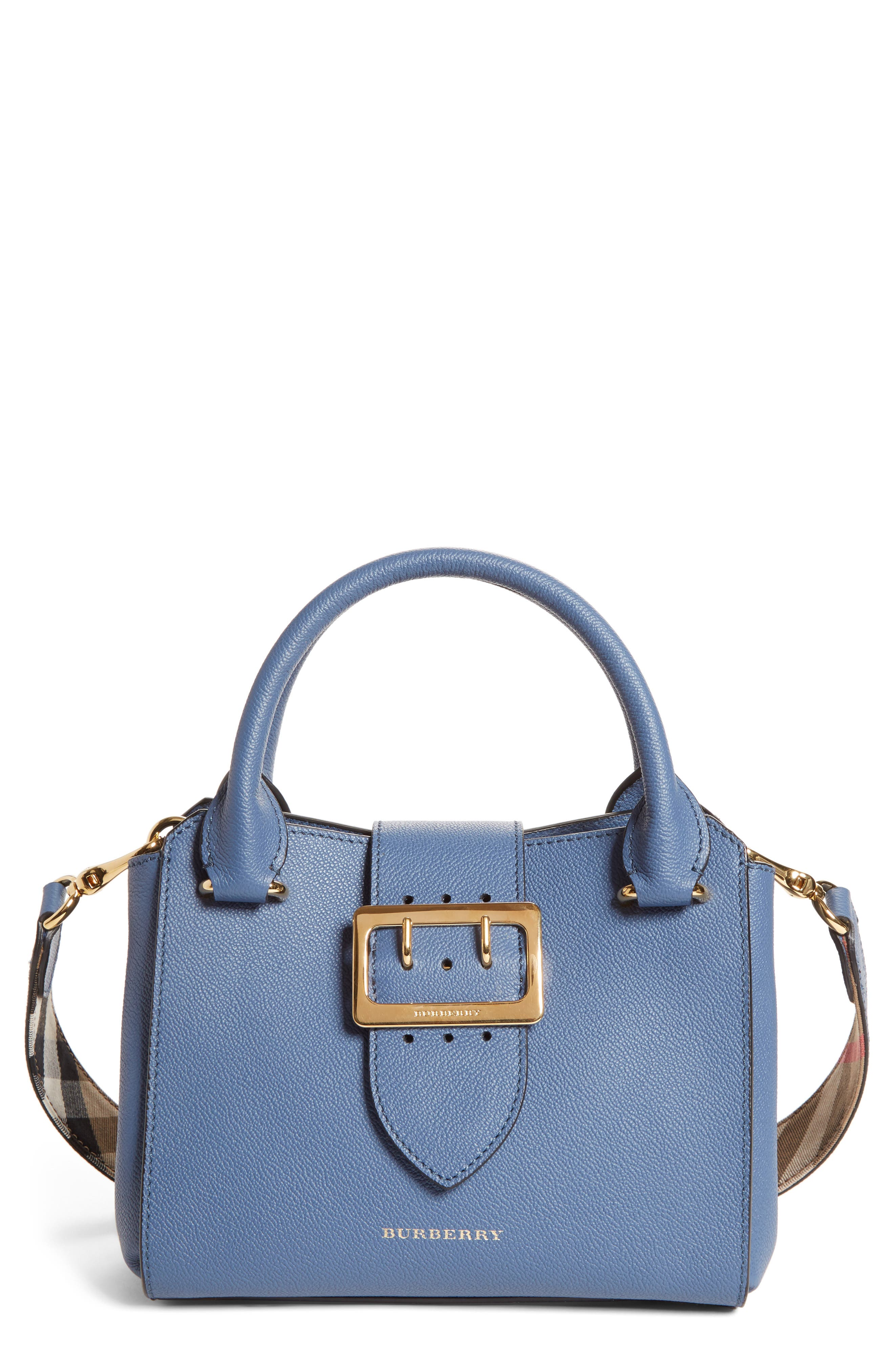 Small Buckle Leather Satchel,                         Main,                         color, Steel Blue