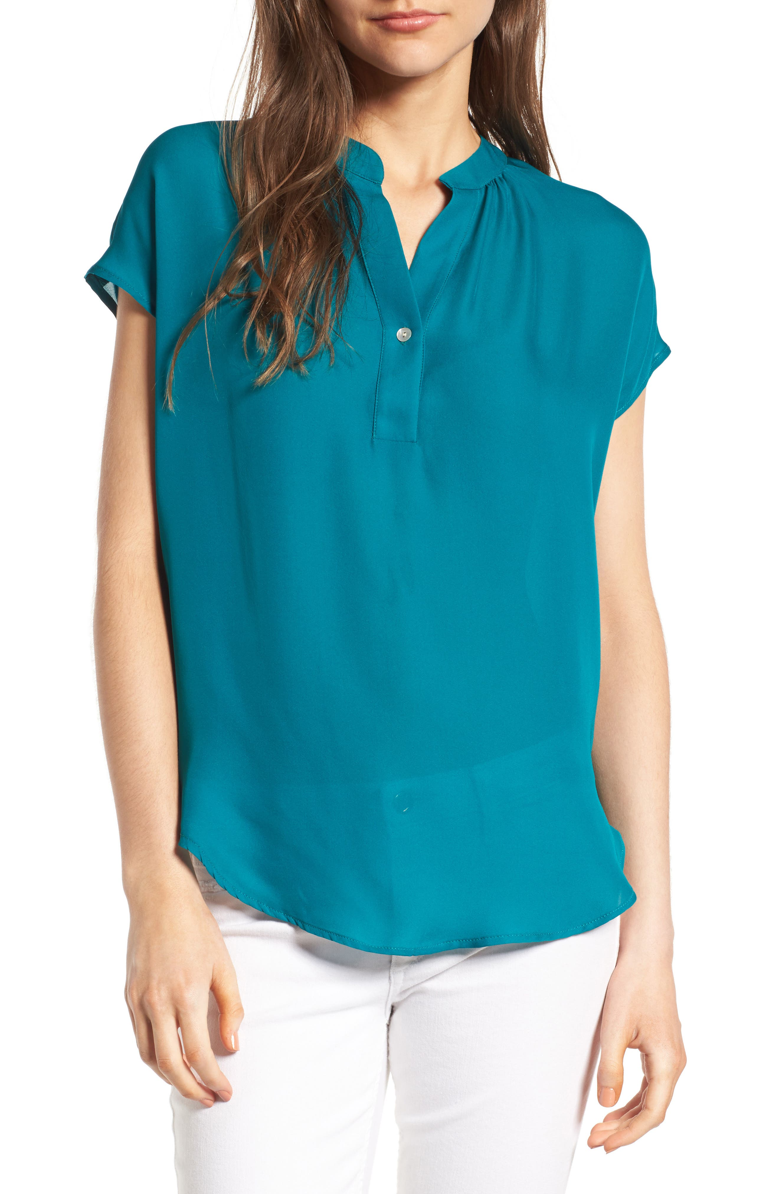Renata Silk Blouse,                         Main,                         color, Bayou Blue