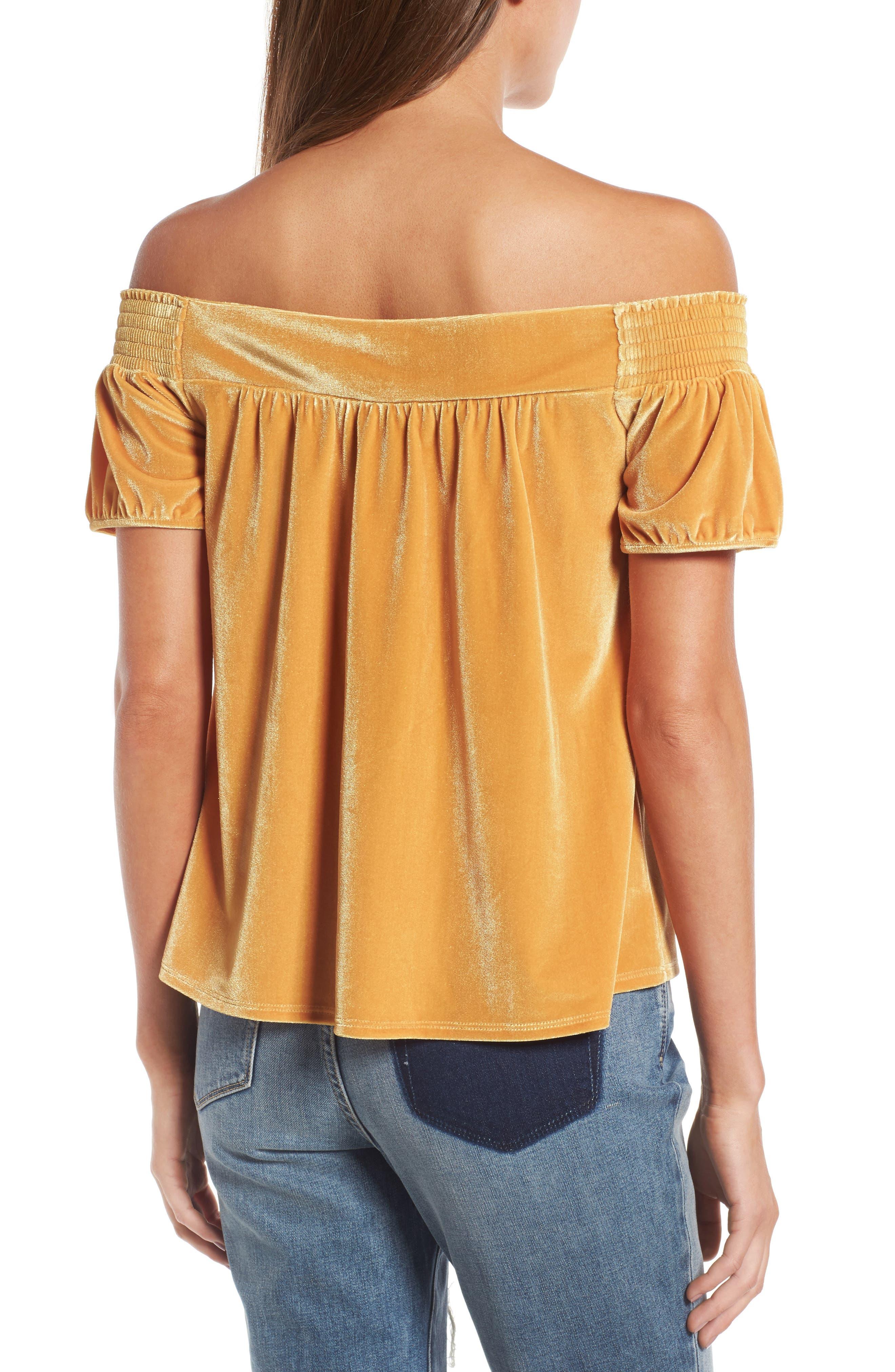 Alternate Image 2  - Hinge Off the Shoulder Velvet Top