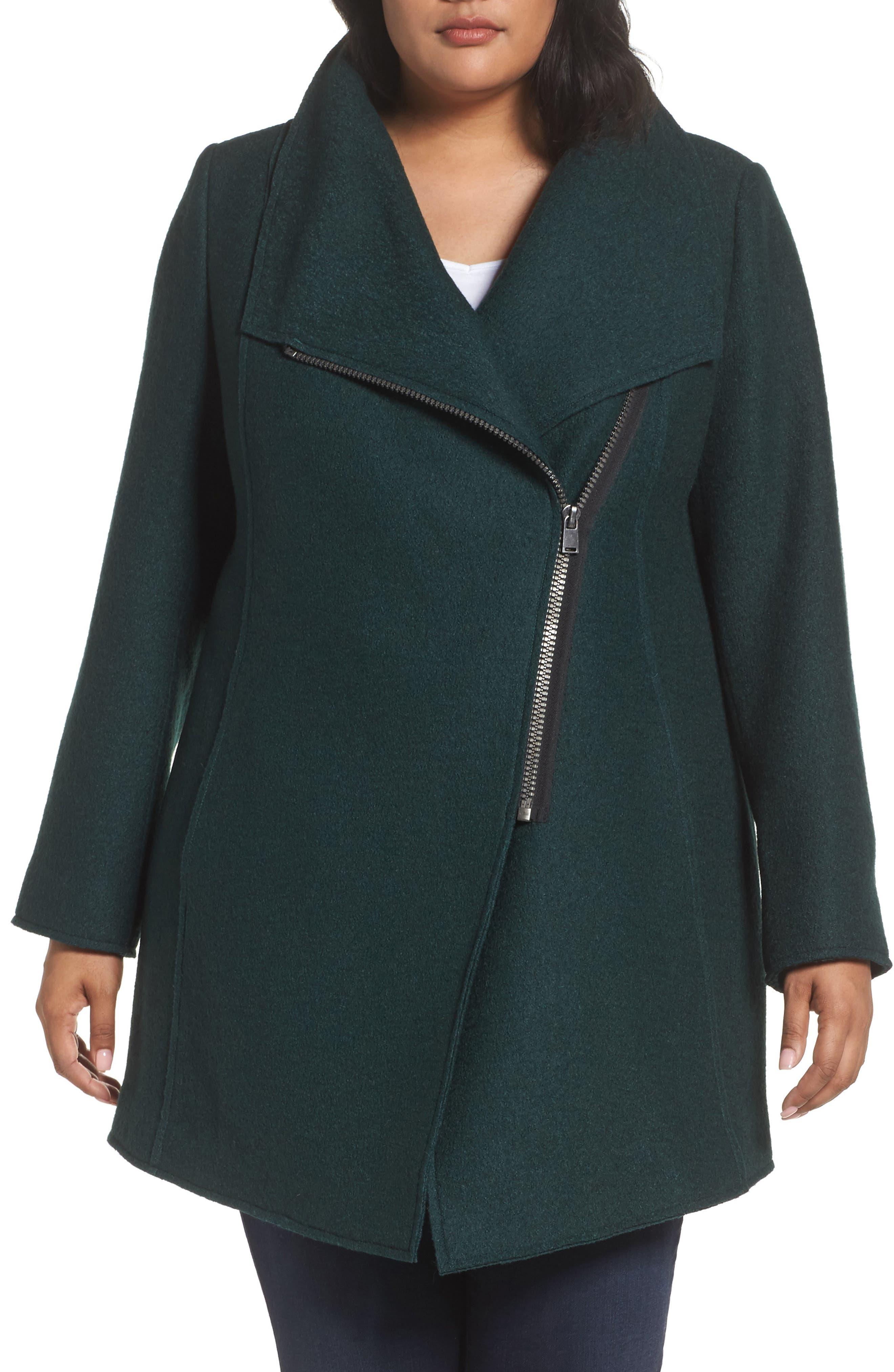 Asymmetrical Zip Boiled Wool Blend Coat,                             Alternate thumbnail 4, color,                             Green Ponderosa