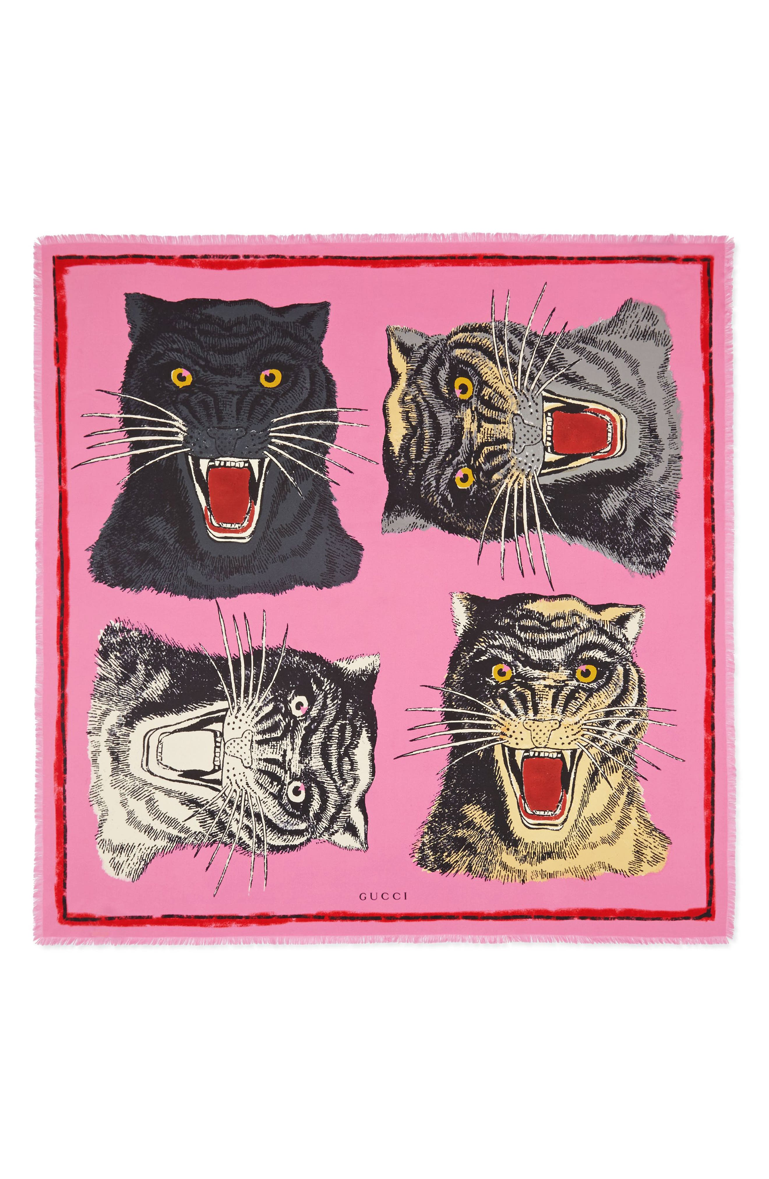 Tiger Faces Scarf,                         Main,                         color, Roseate