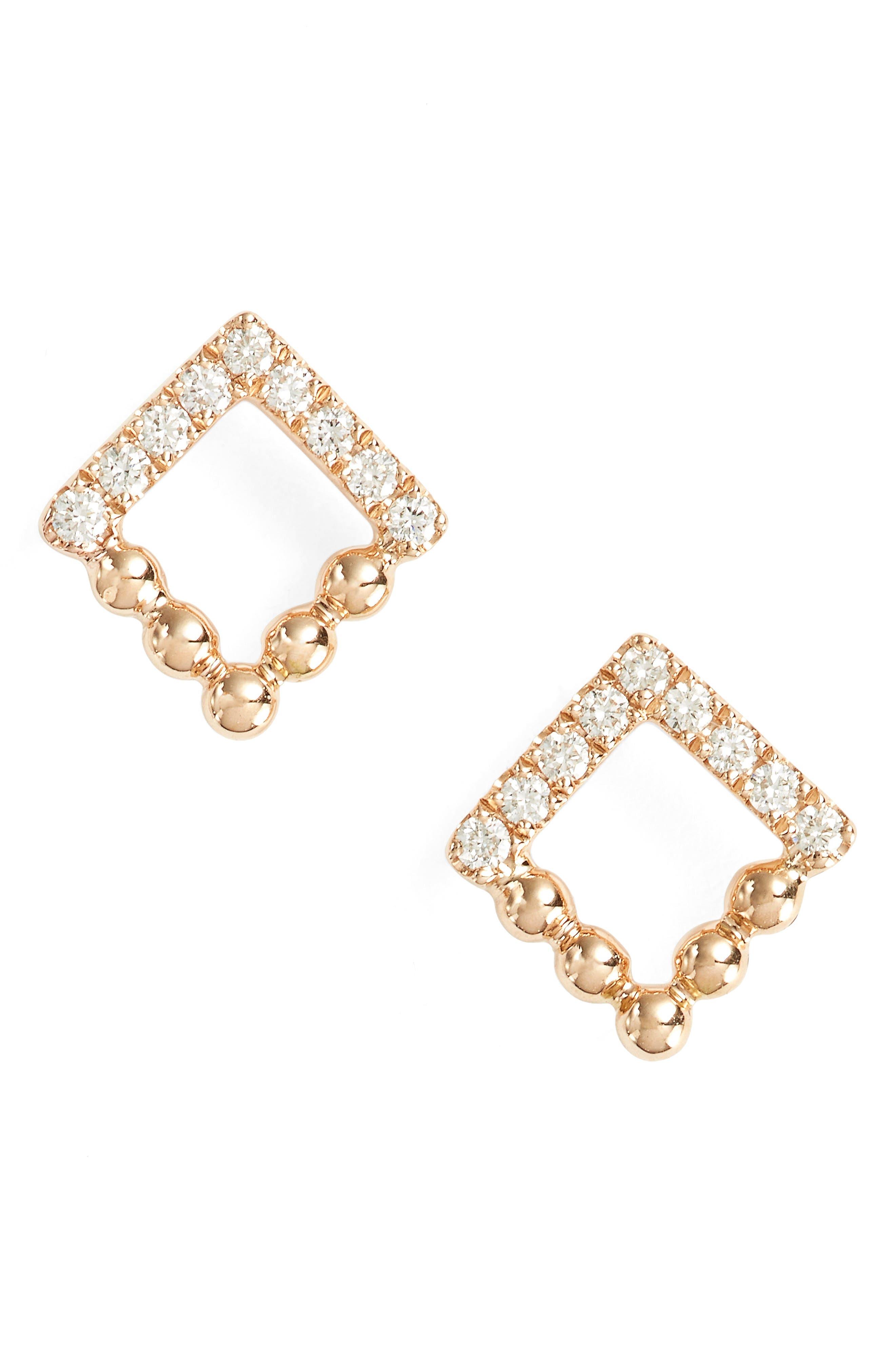 Alternate Image 1 Selected - Dana Rebecca Designs Poppy Rae Square Diamond Stud Earrings