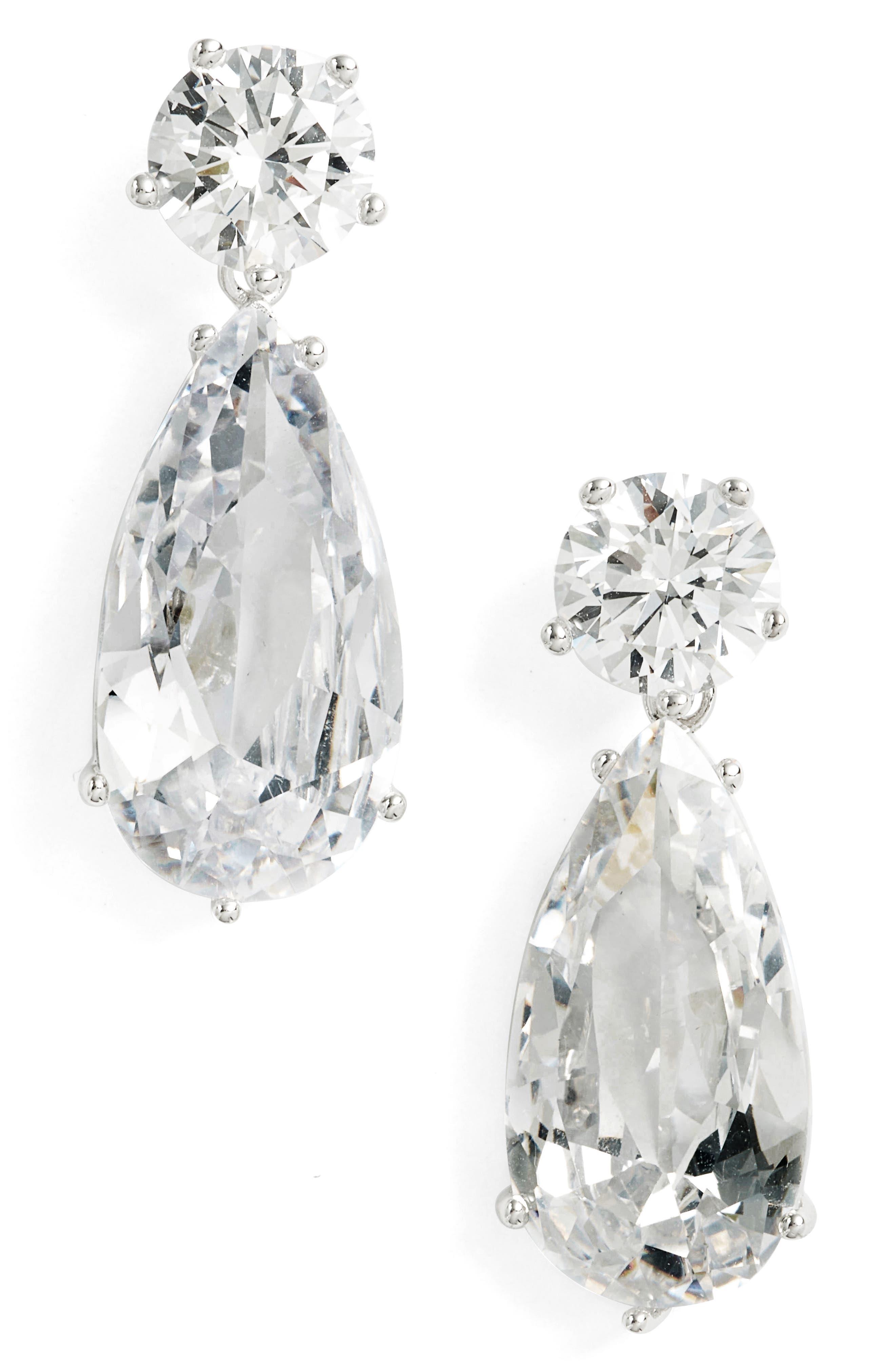Double Drop Earrings,                         Main,                         color, Silver