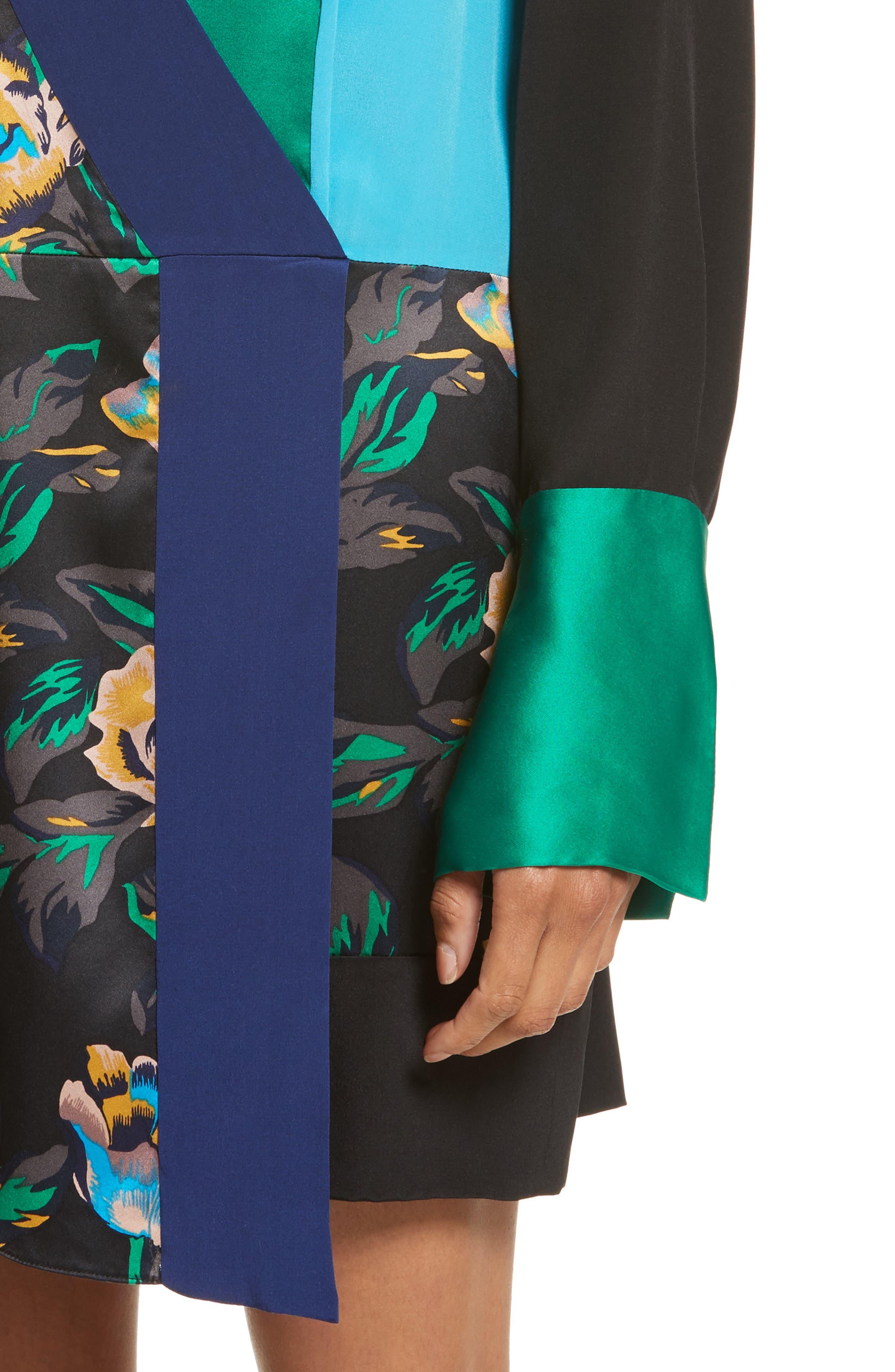 Mixed Media Crossover Silk Dress,                             Alternate thumbnail 4, color,                             Benton Blue/ Evergreen