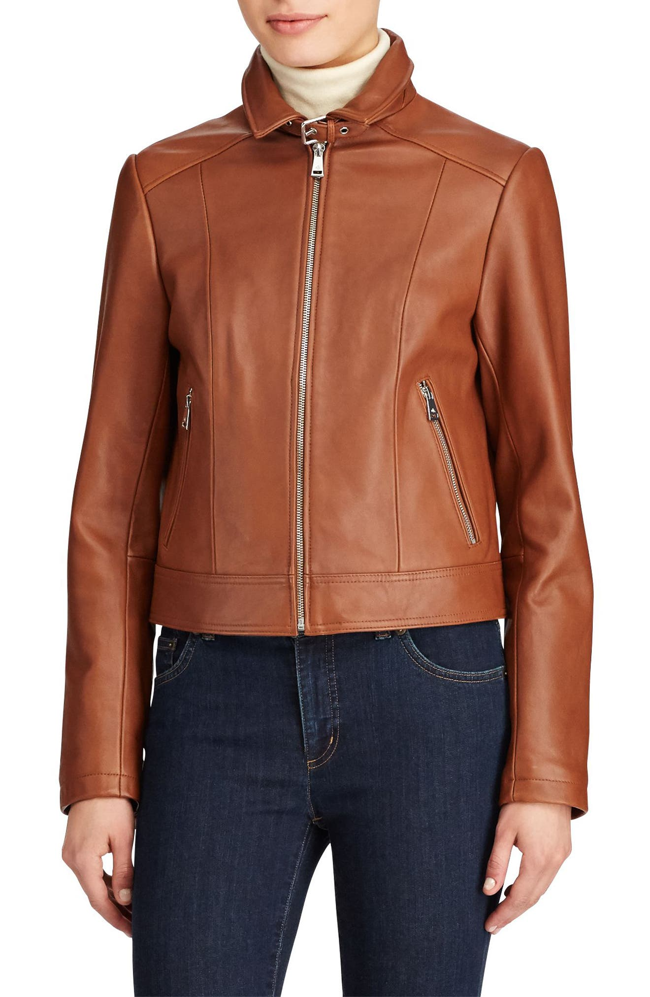 Shirt Collar Leather Jacket,                             Main thumbnail 1, color,                             Cuoio