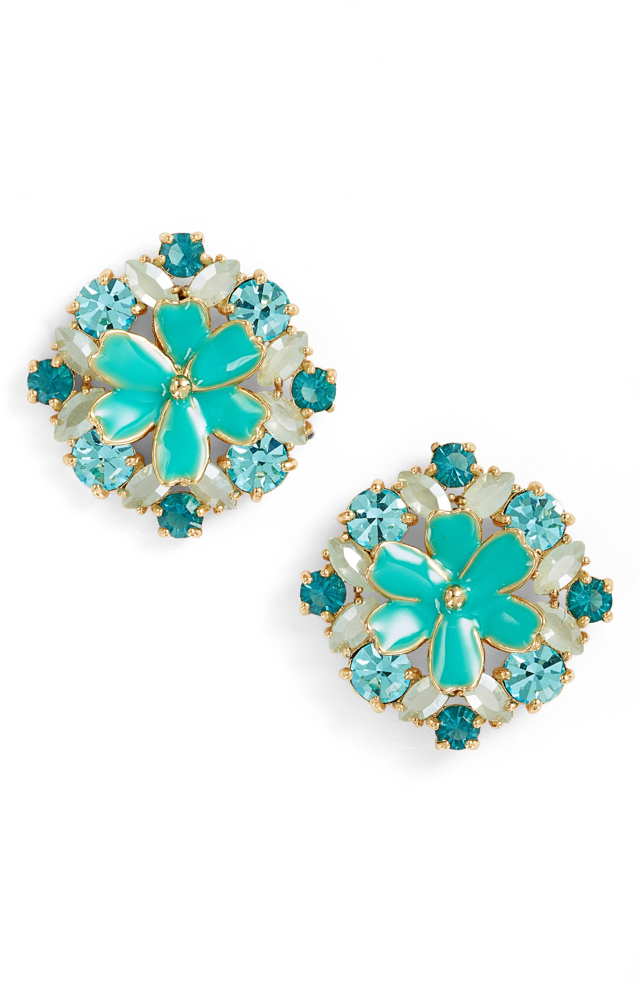 here comes the sun crystal stud earrings,                         Main,                         color, Blue Multi