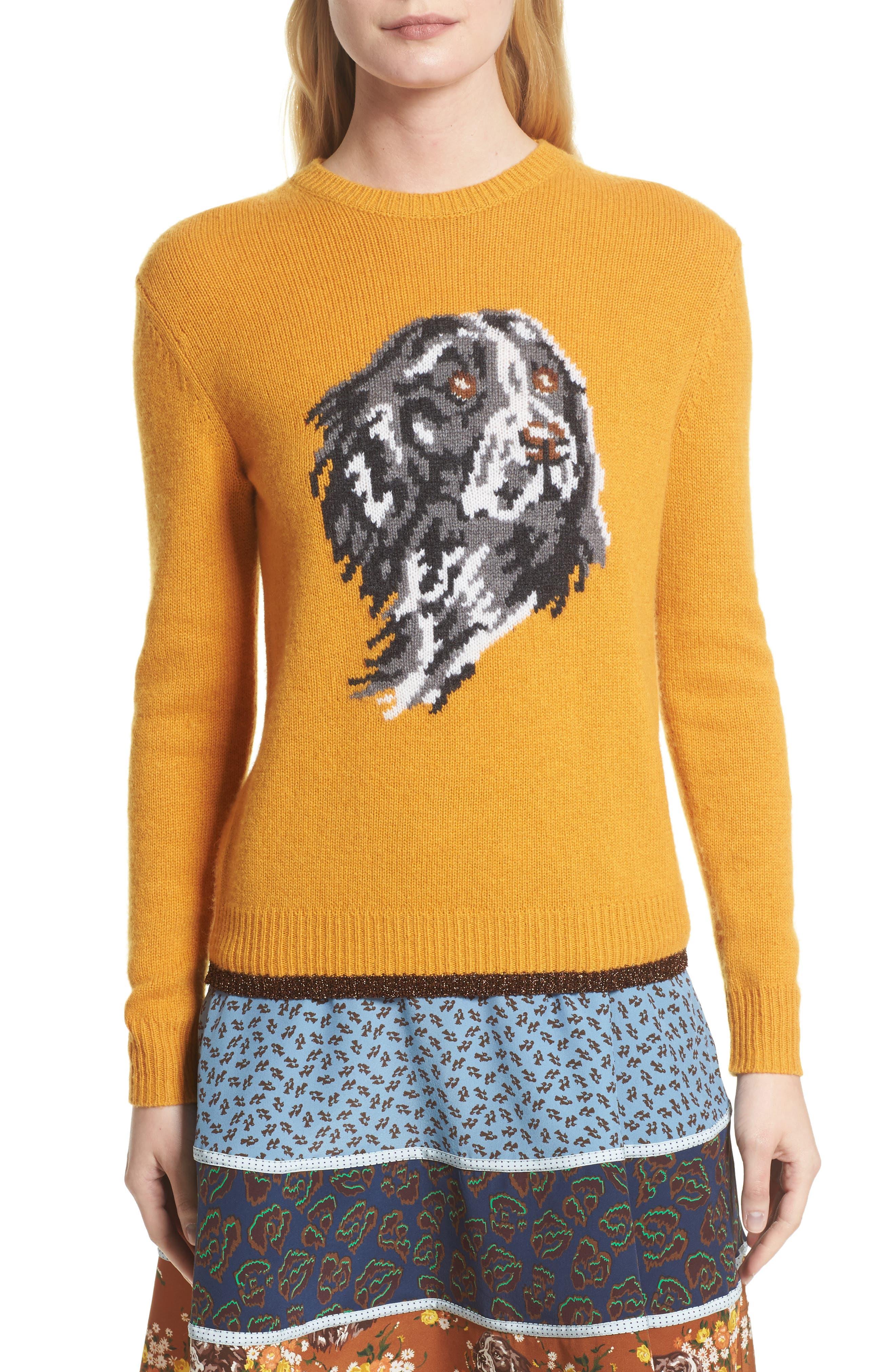 Intarsia Dog Cashmere Sweater,                         Main,                         color, Yellow
