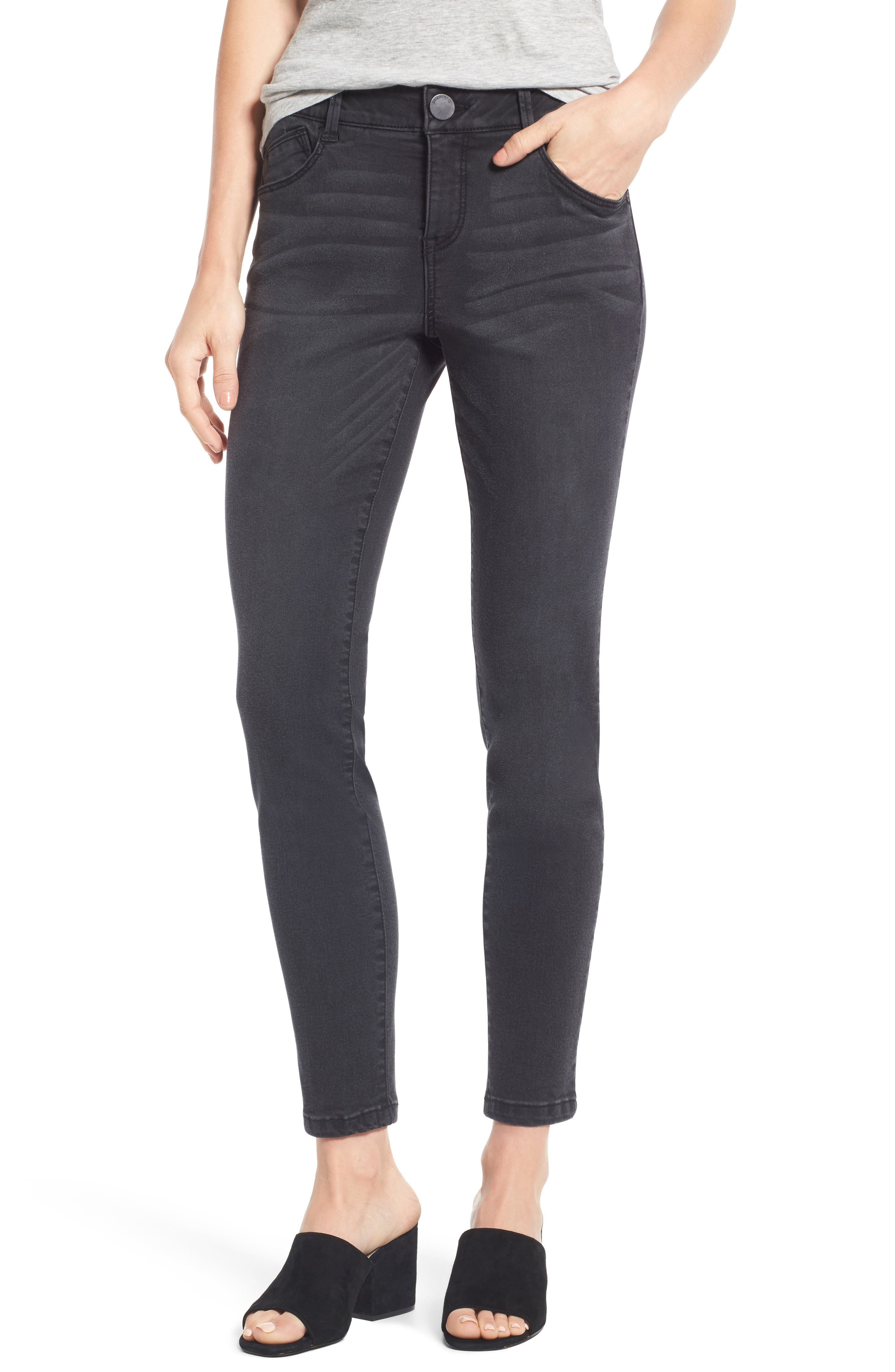 Ab-solution Stretch Ankle Skinny Jeans,                         Main,                         color, Grey