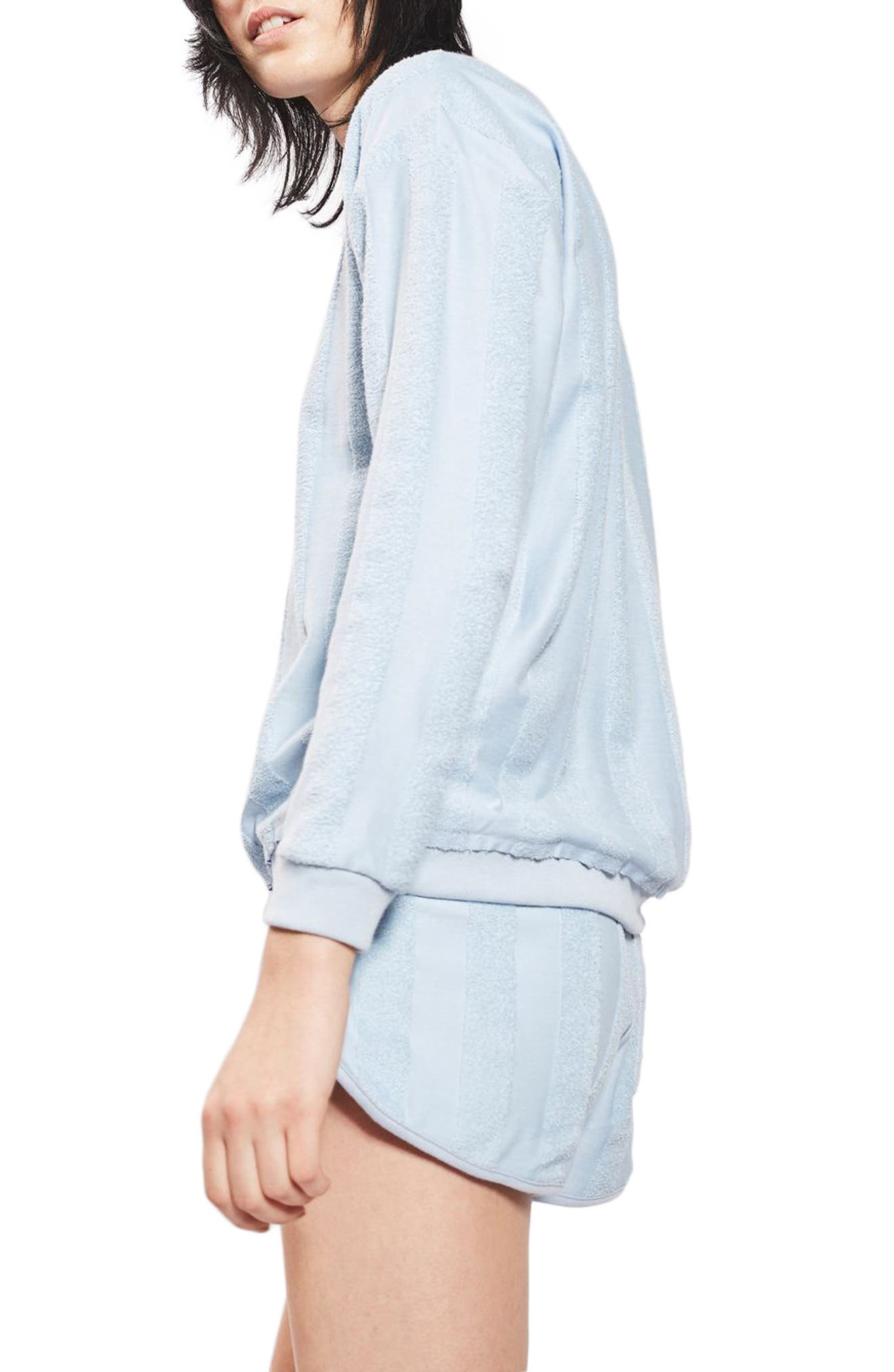 Alternate Image 3  - Topshop Towel Stripe Lounge Sweatshirt