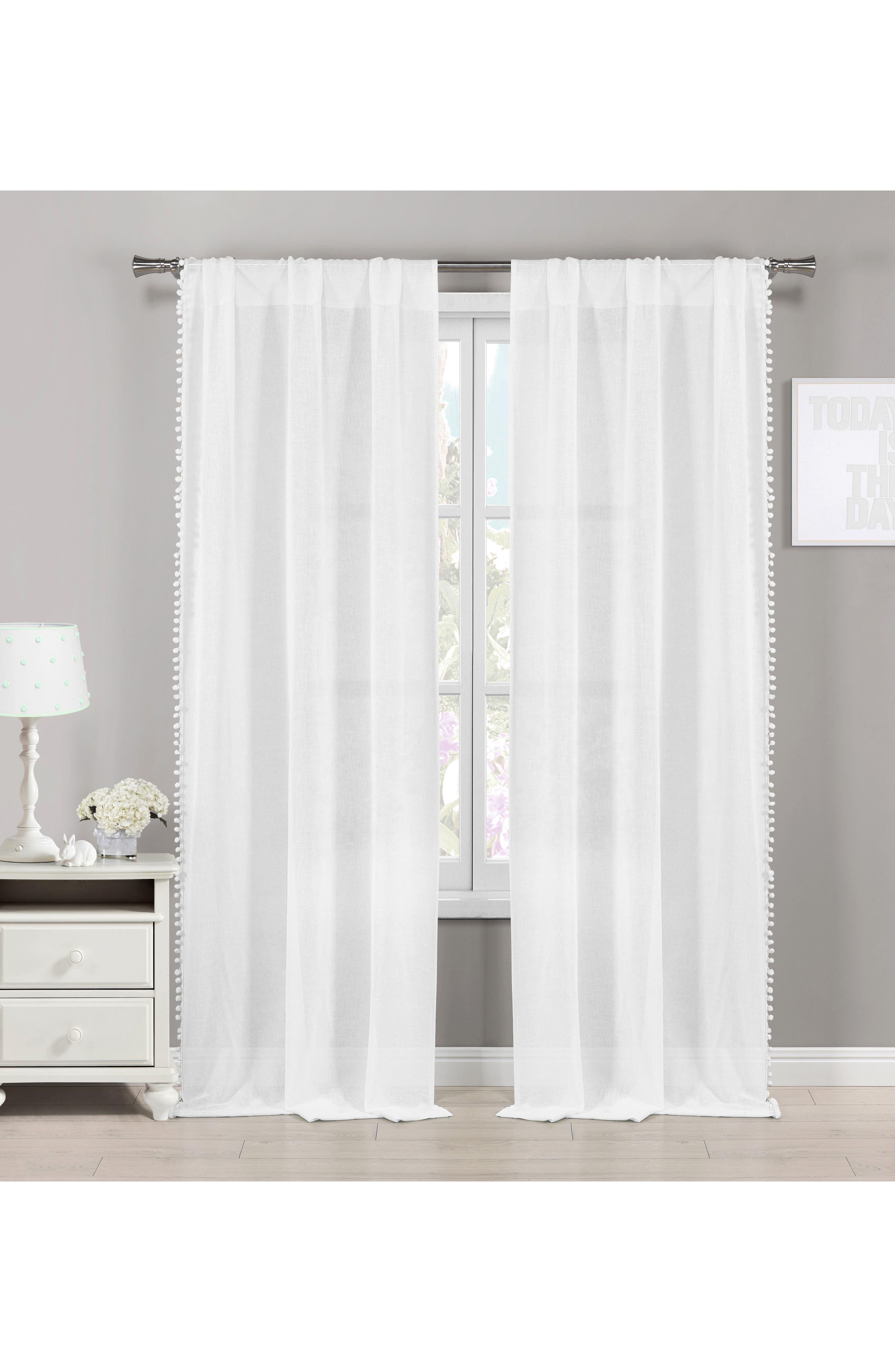 Addyson Sheer Pompom Window Panels,                         Main,                         color, White