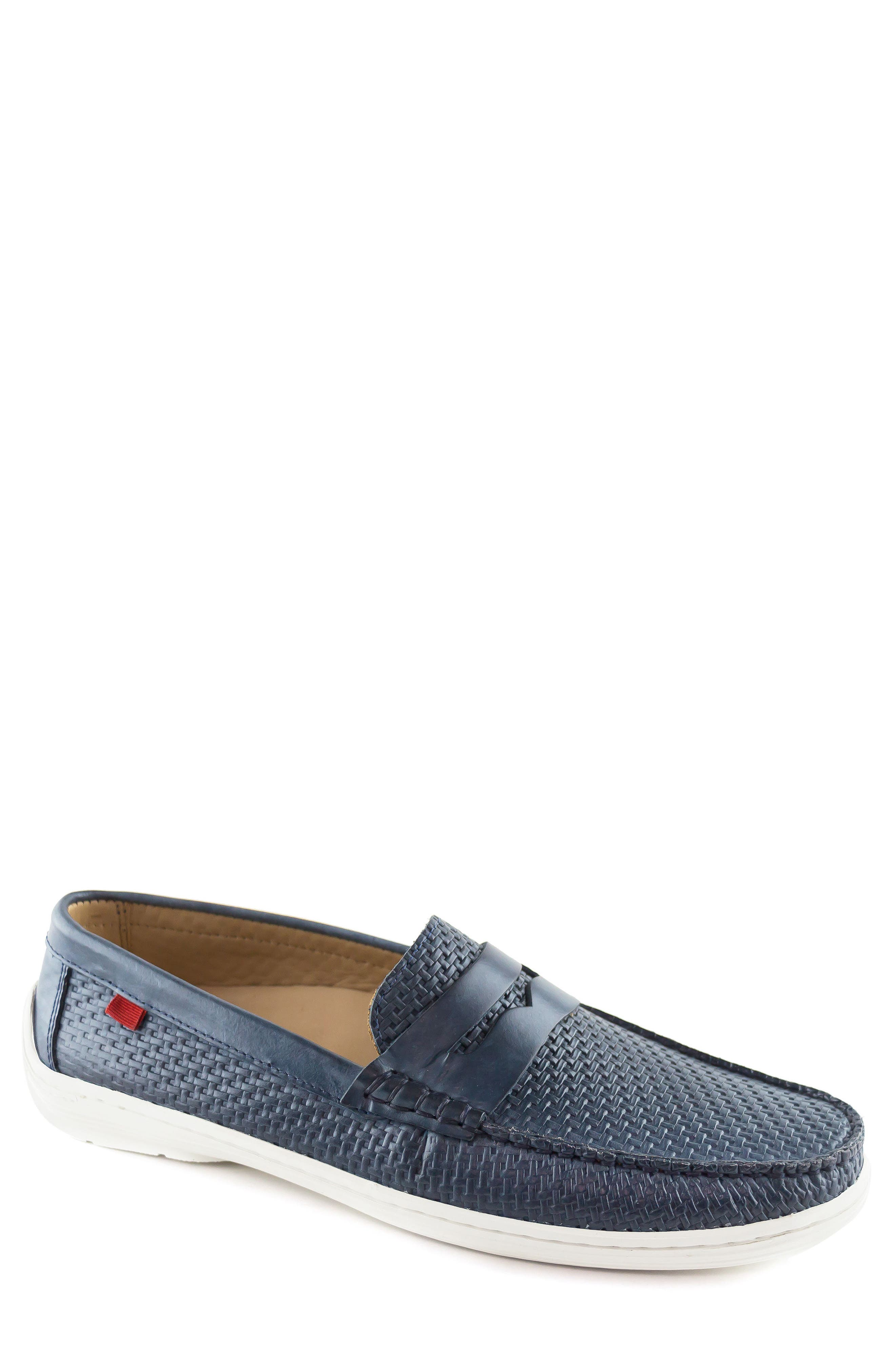 Atlantic Penny Loafer,                         Main,                         color, Blue Leather