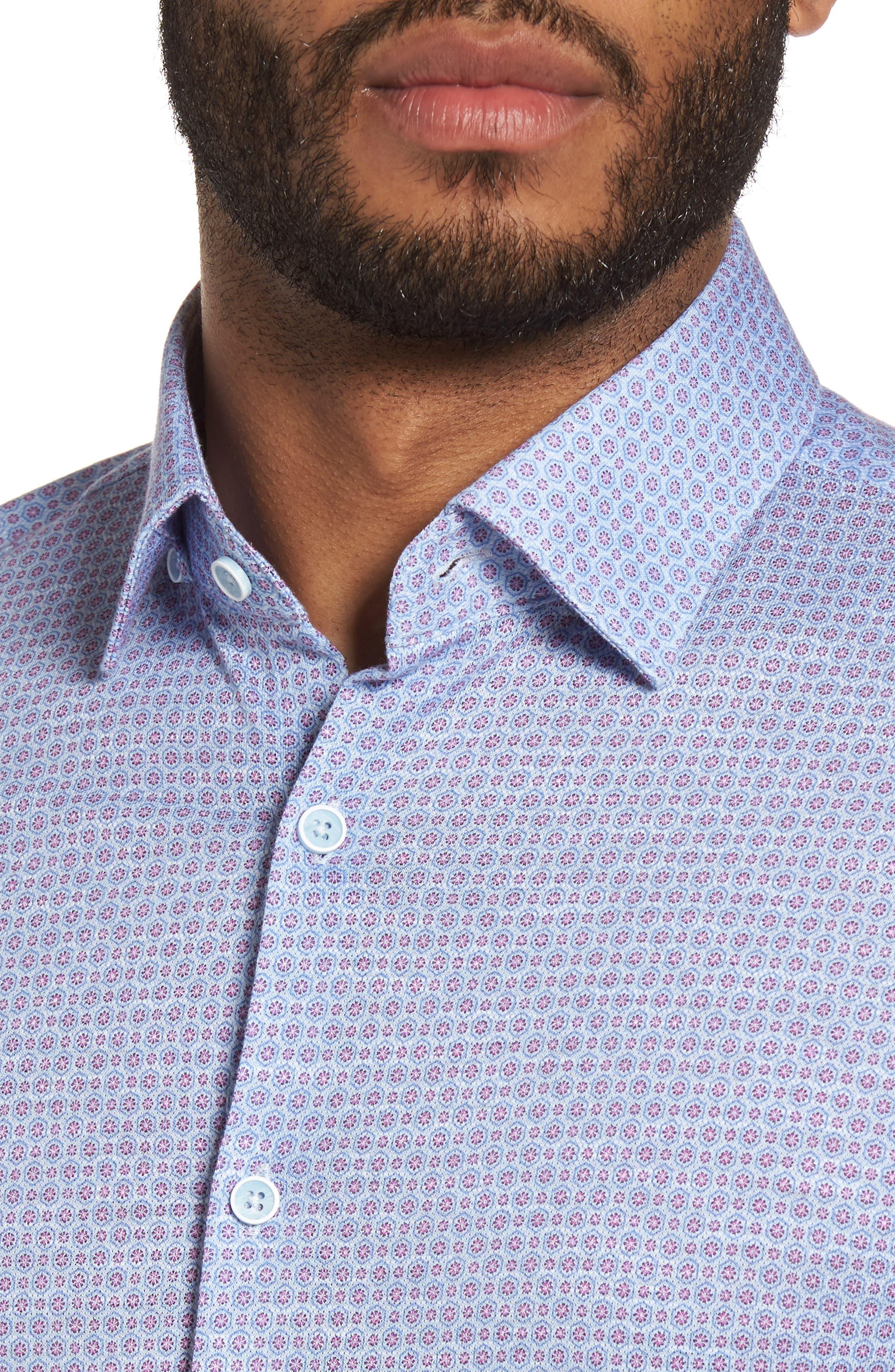 Honeycomb Geo Sport Shirt,                             Alternate thumbnail 4, color,                             Sky Blue