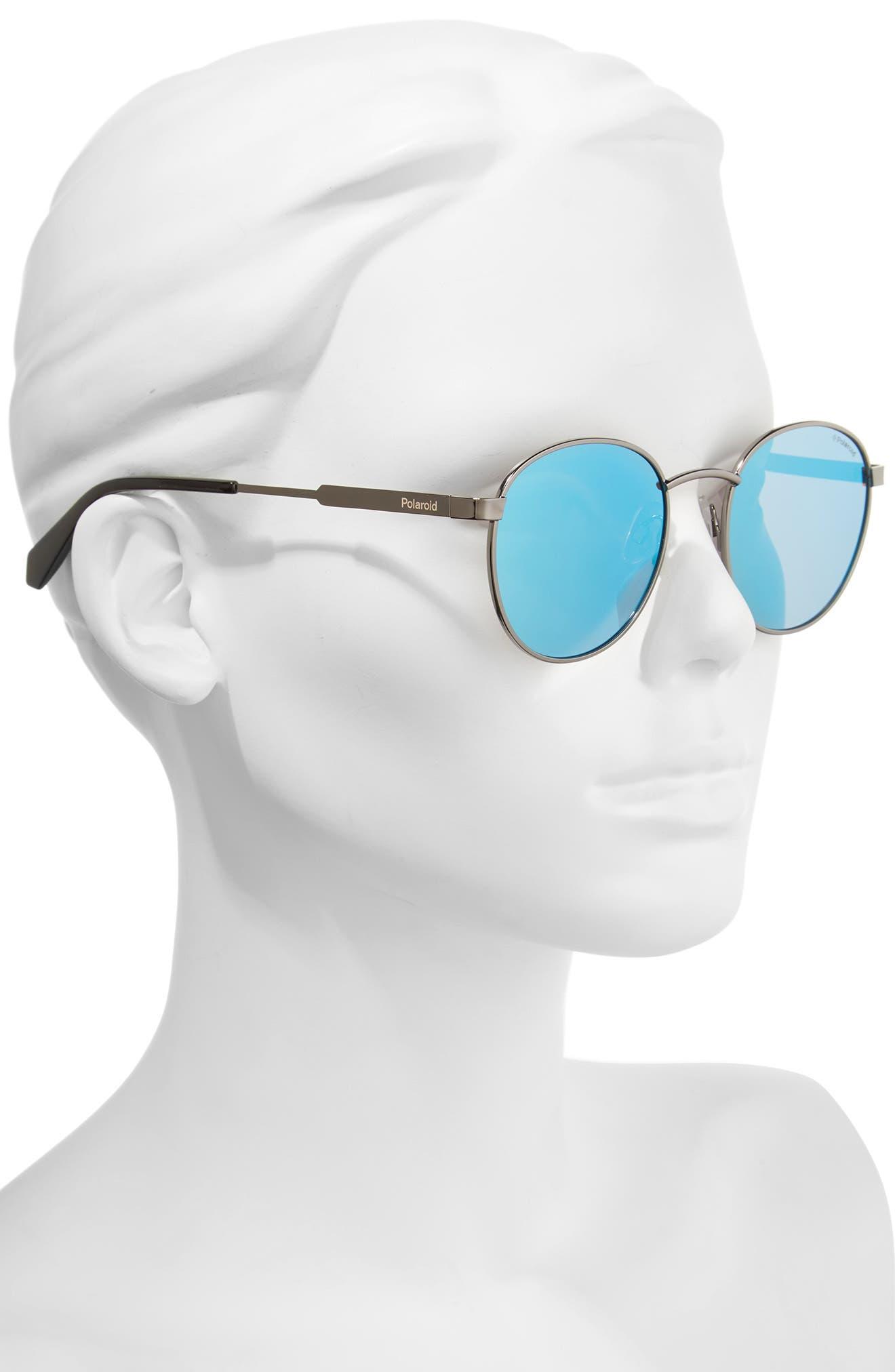51mm Polarized Round Sunglasses,                             Alternate thumbnail 2, color,                             Ruthenium