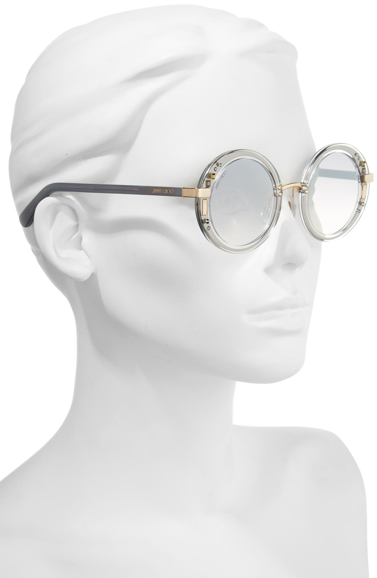 Gems 48mm Round Sunglasses,                             Alternate thumbnail 2, color,                             Crystal/ Ruthenium/ Grey