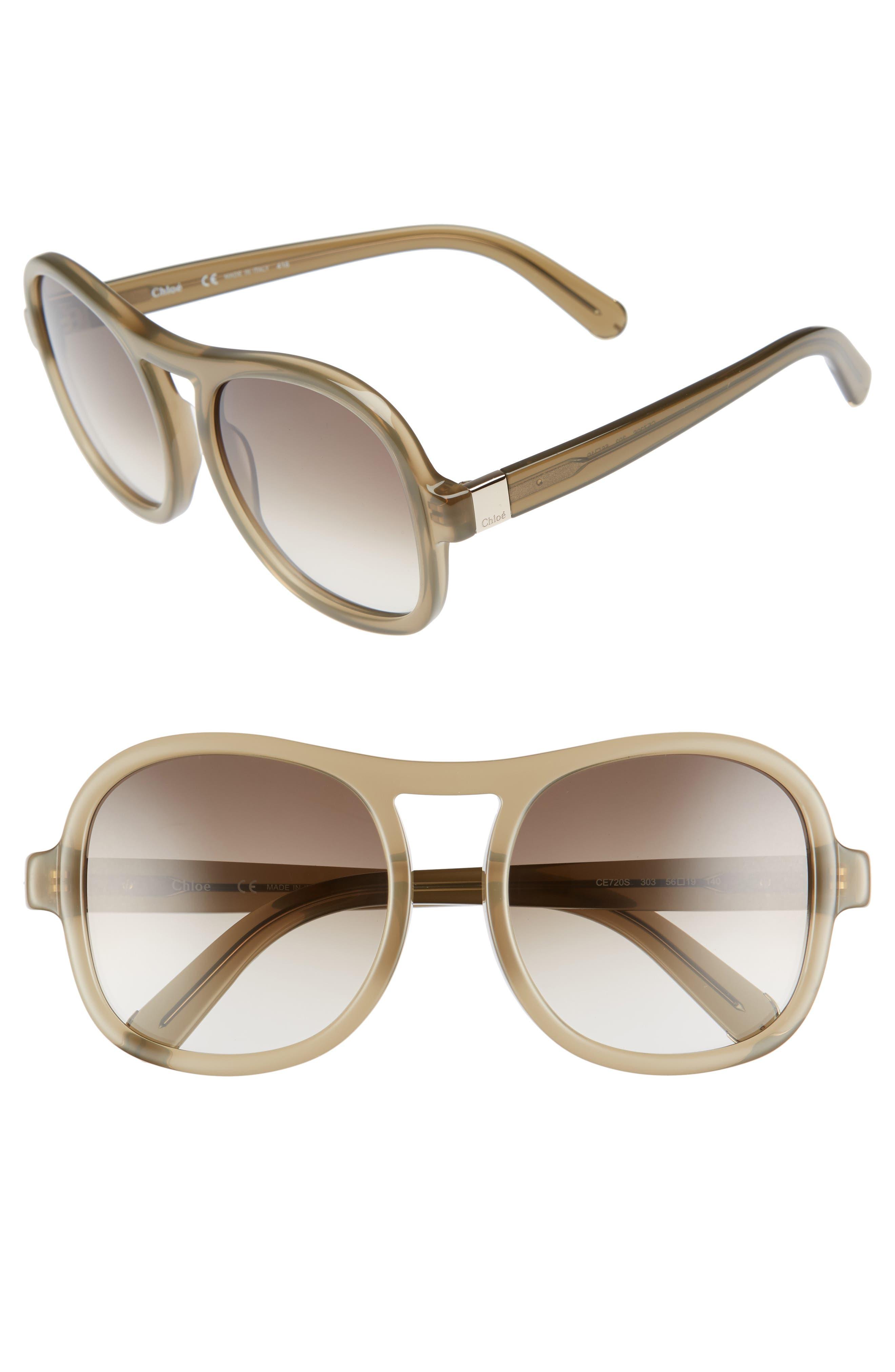 Marlow 56mm Gradient Lens Sunglasses,                             Main thumbnail 1, color,                             Khaki