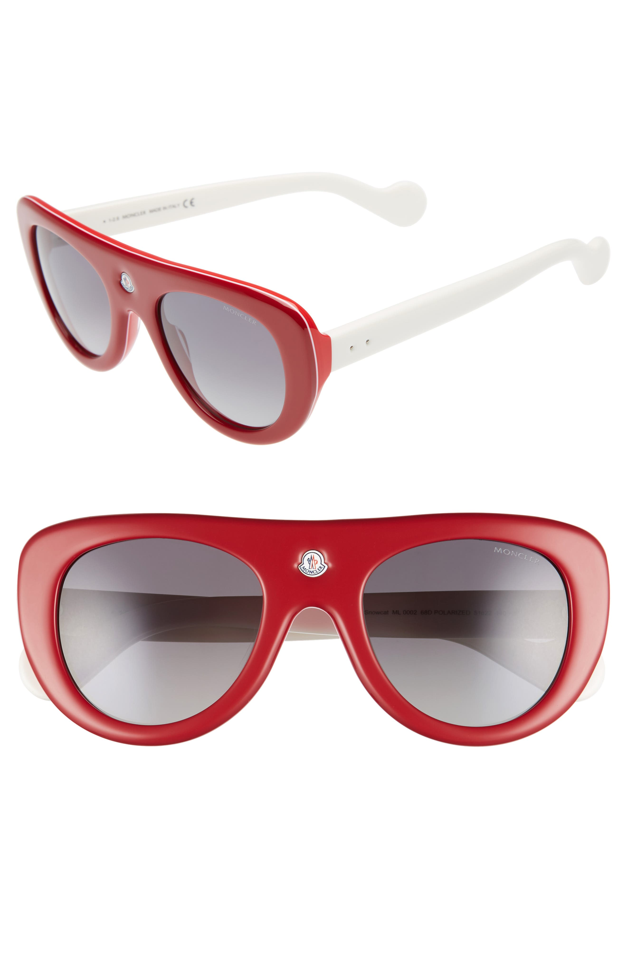 51mm Polarized Two-Tone Geometric Sunglasses,                         Main,                         color, Red/ Ivory/ Smoke Polar