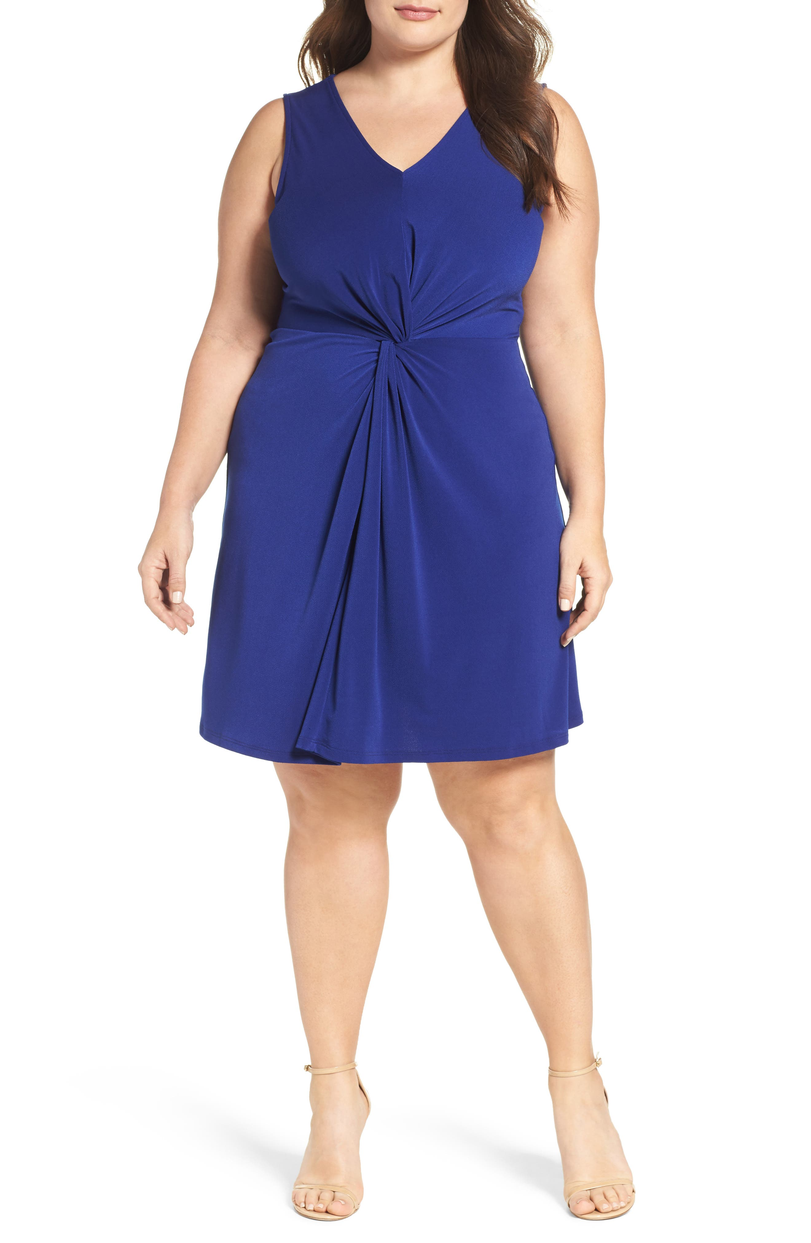 Twist Front Jersey Dress,                             Main thumbnail 1, color,                             Navy Crepe
