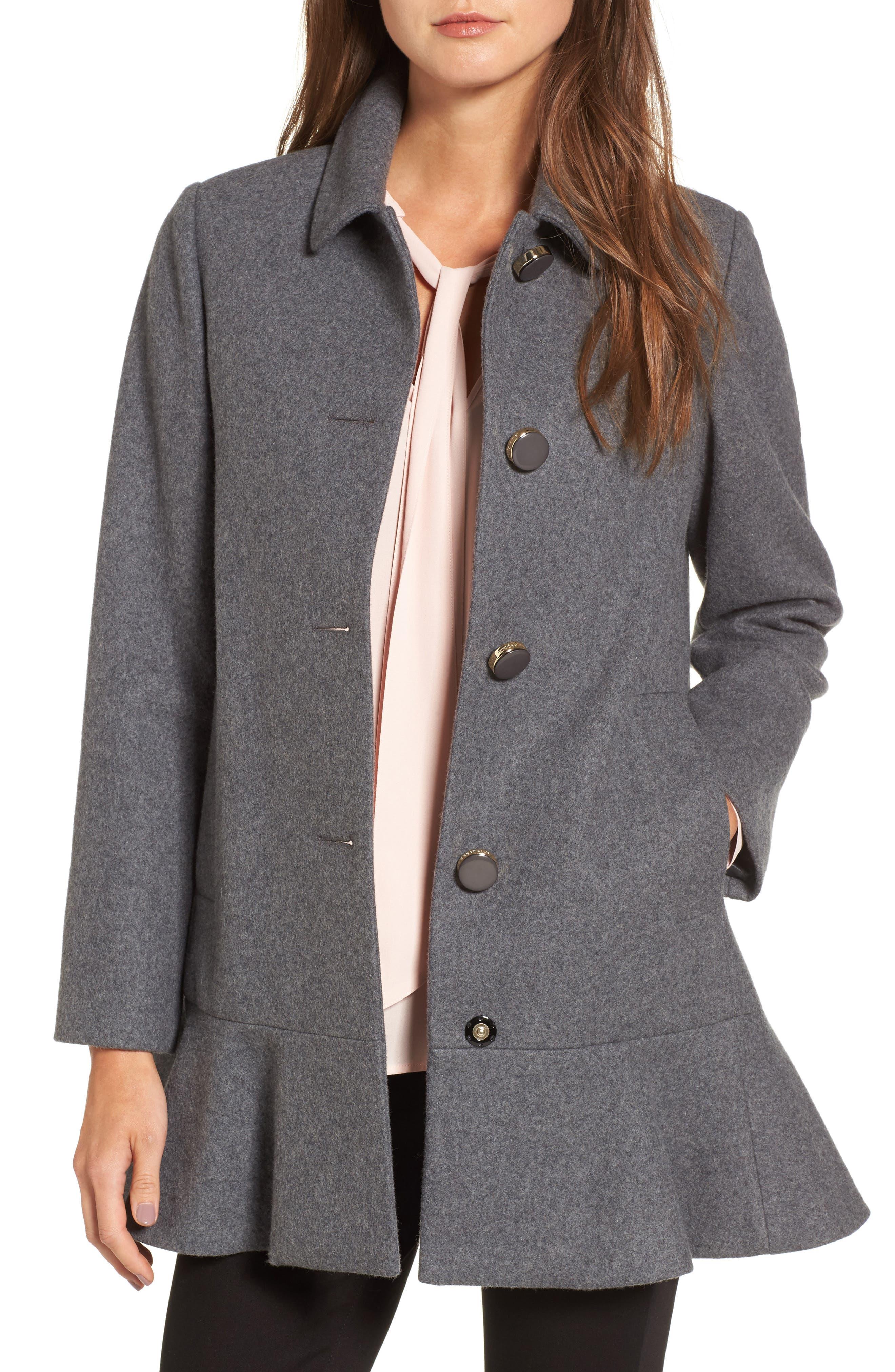 KATE SPADE NEW YORK drop waist wool blend flounce coat