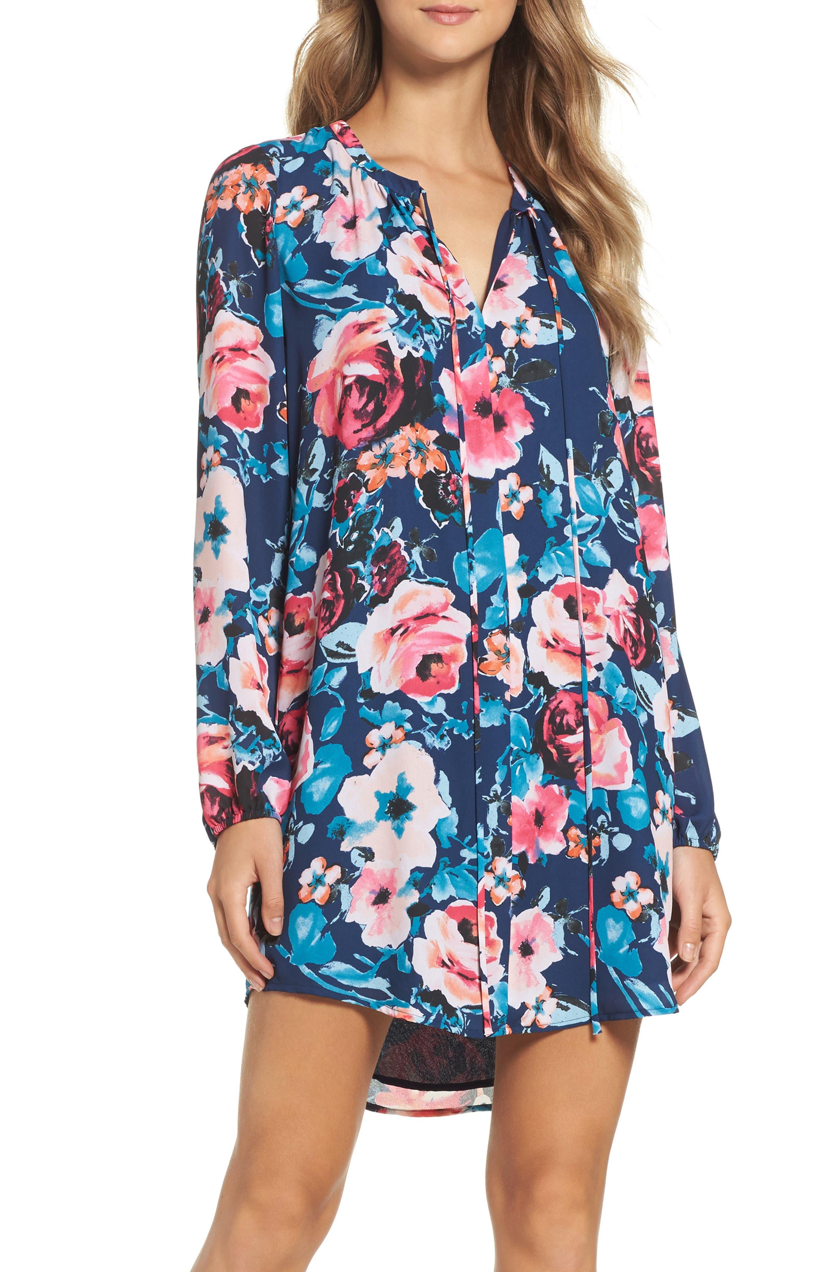 Main Image - Charles Henry Floral Shirtdress (Regular & Petite)