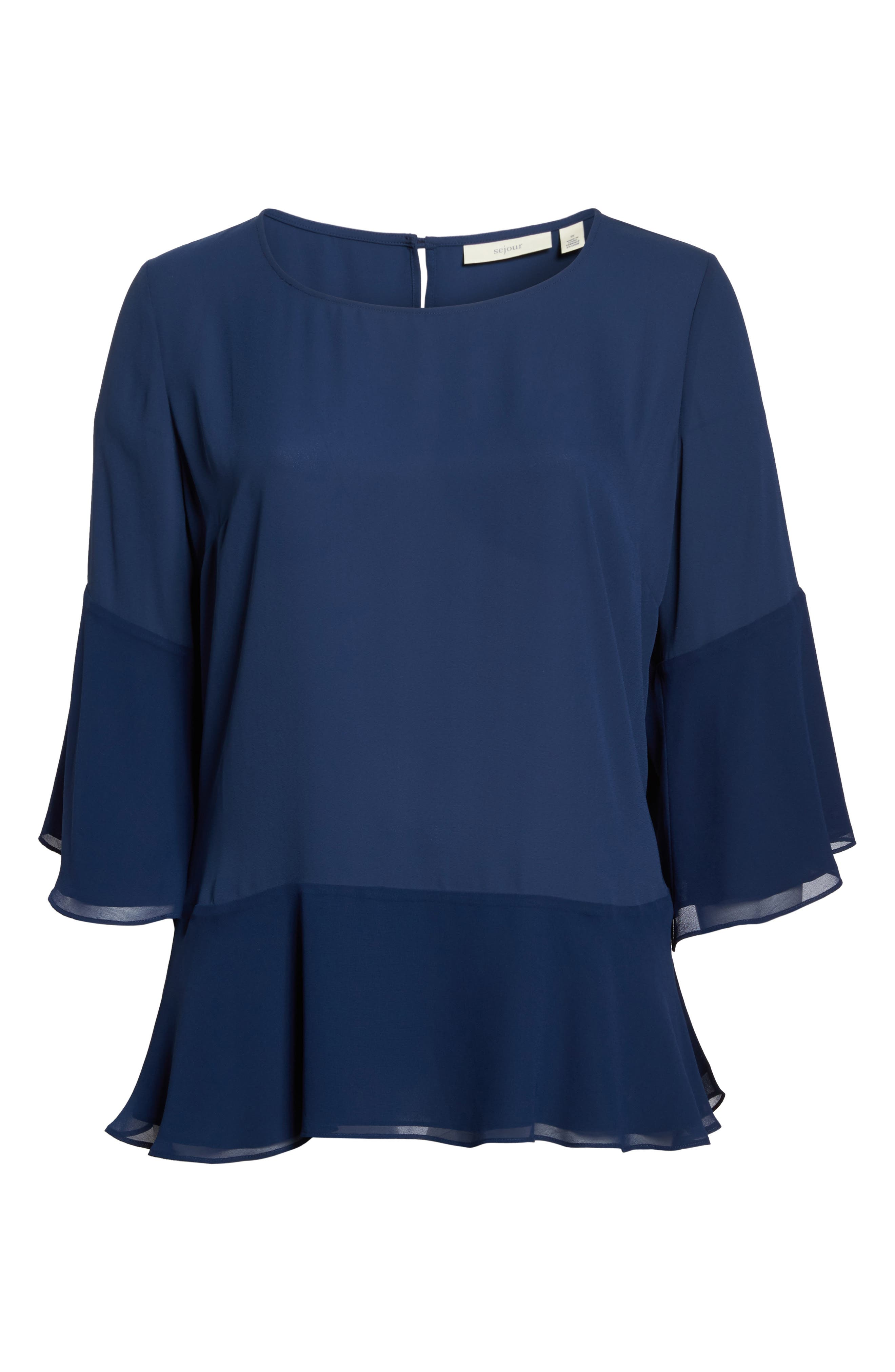 Flare Sleeve Double Layer Top,                             Alternate thumbnail 6, color,                             Navy Medieval