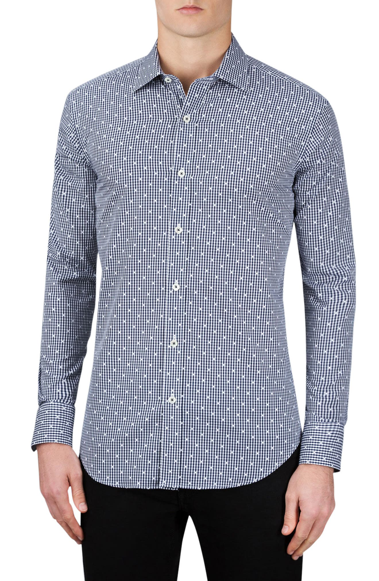 Main Image - Bugatchi Shaped Fit Check Sport Shirt
