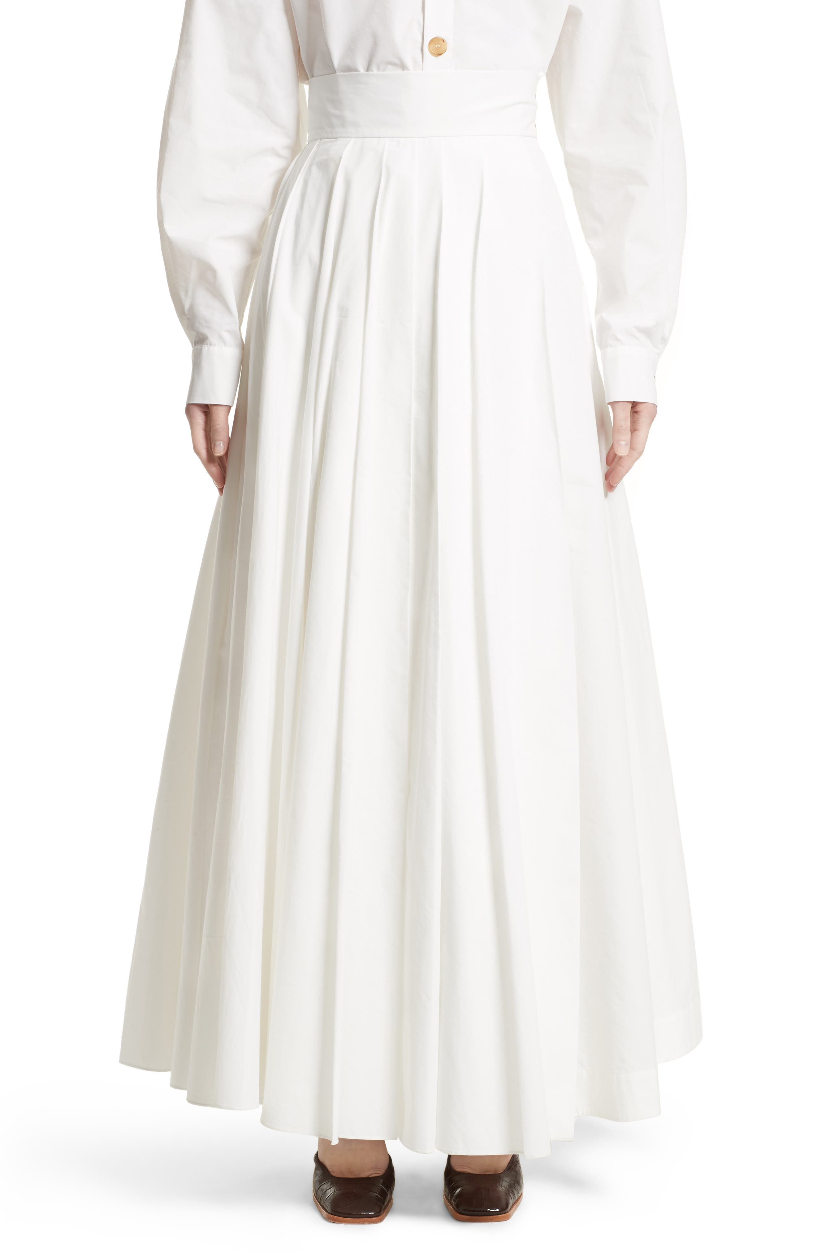Pleated Maxi Skirt,                         Main,                         color, White
