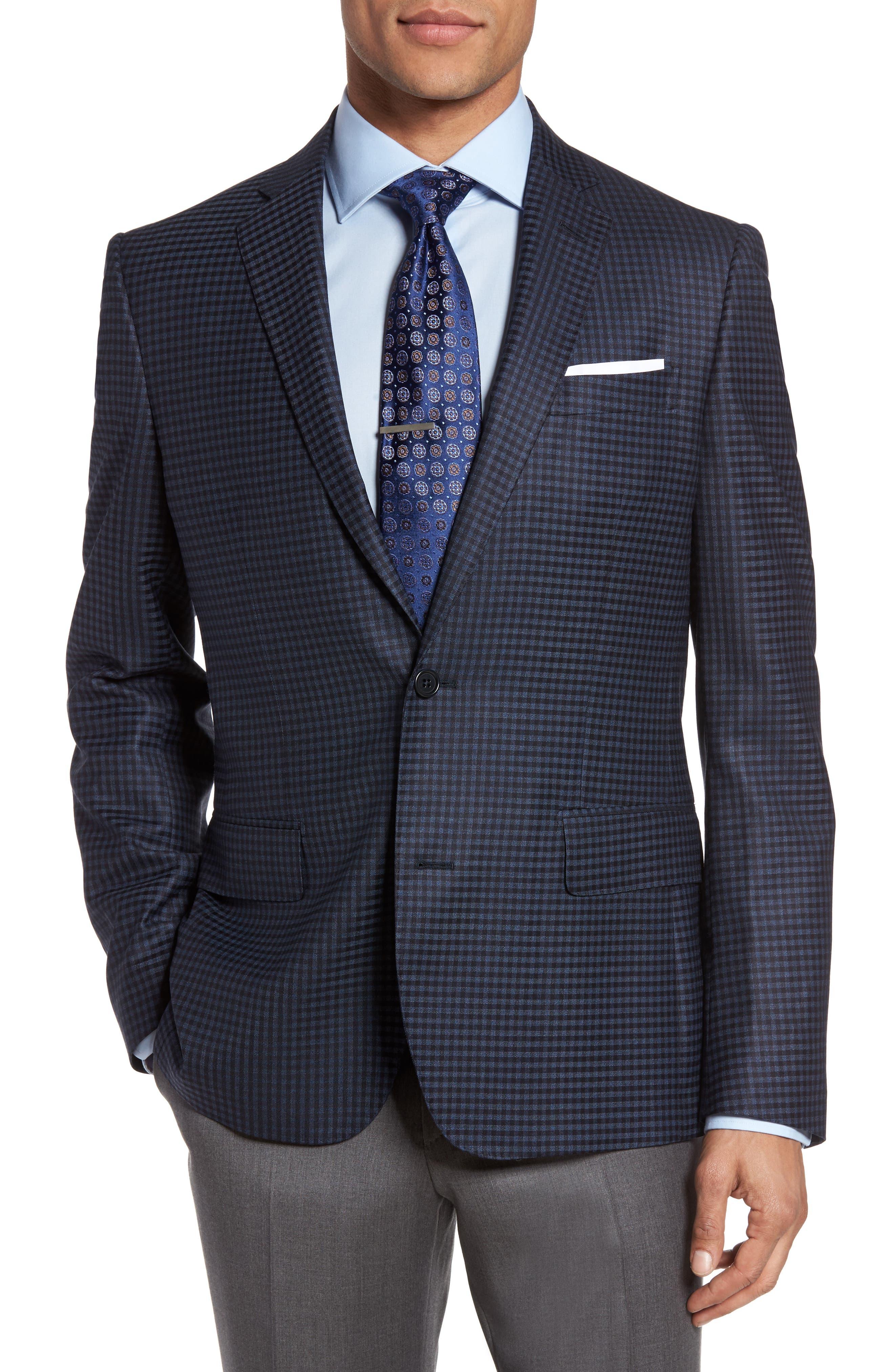 Main Image - Nordstrom Men's Shop Classic Fit Check Wool Sport Coat (Big)