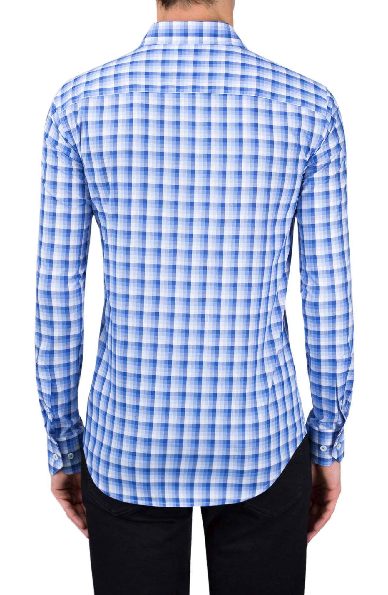 Shaped Fit Check Sport Shirt,                             Alternate thumbnail 2, color,                             Classic Blue