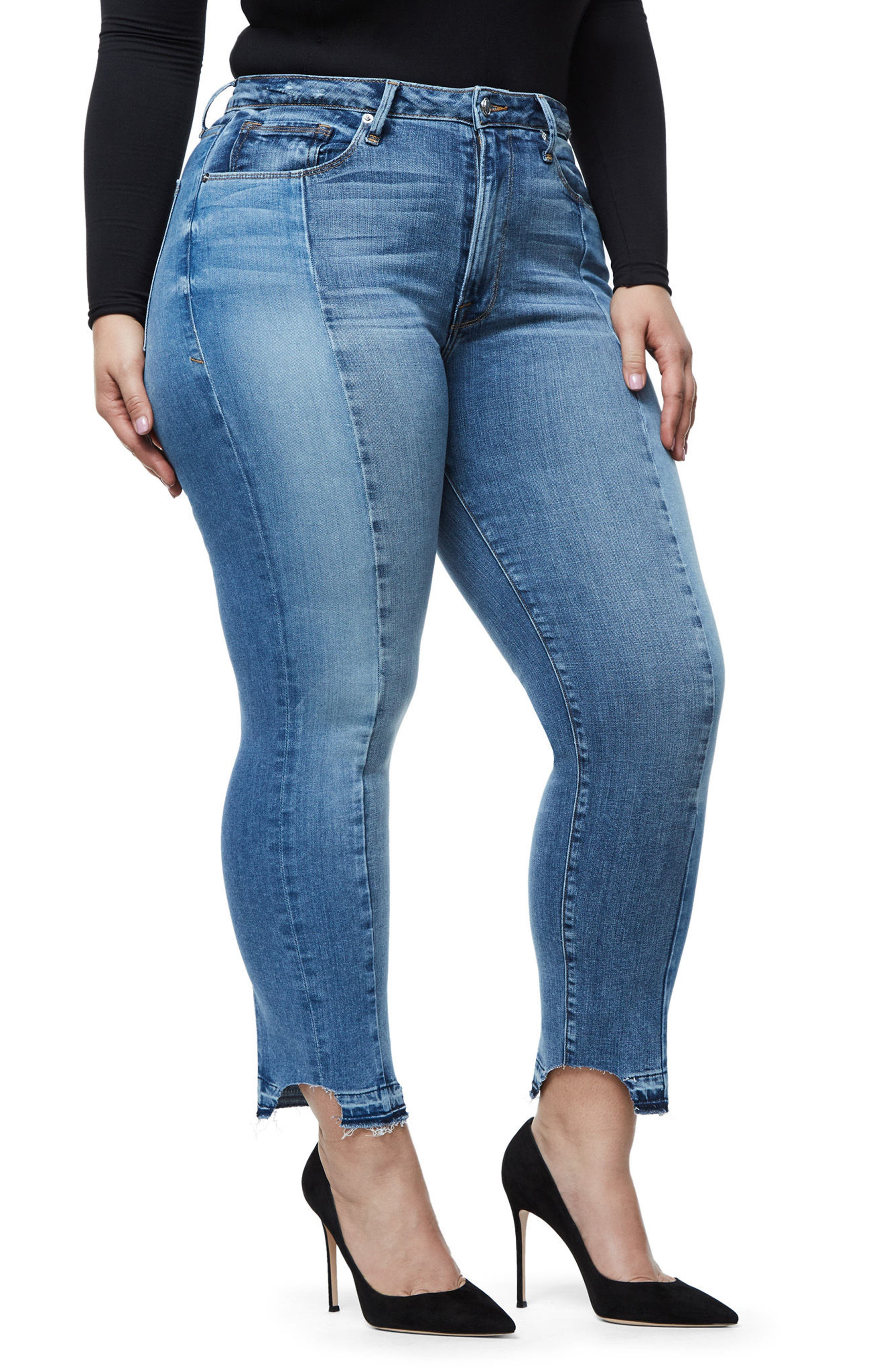 Alternate Image 9  - Good American Raw Hem High Waist Skinny Jeans (Blue 078) (Extended Sizes)