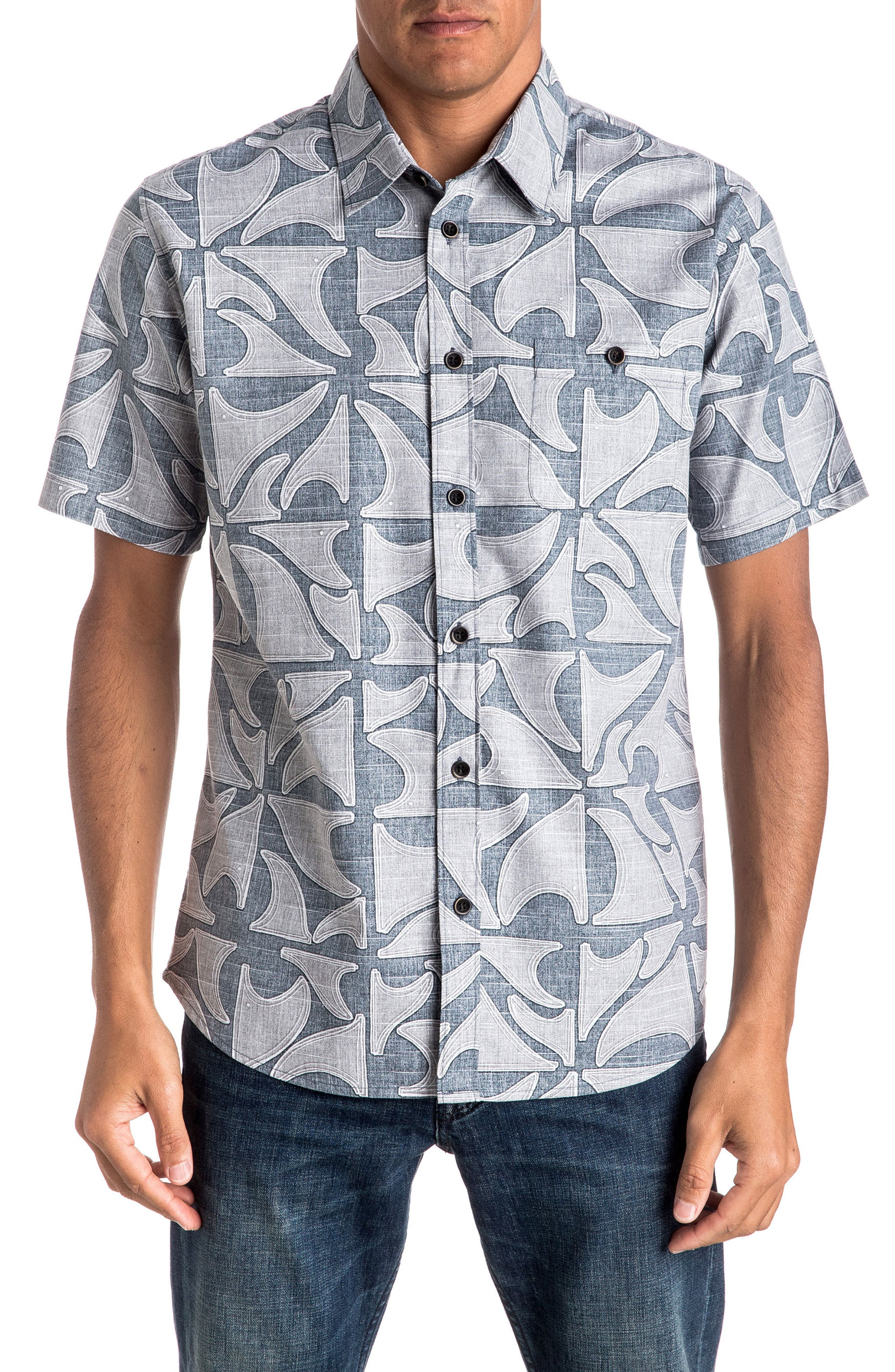 Quiksilver Waterman Collection Finisteria Regular Fit Print Sport Shirt