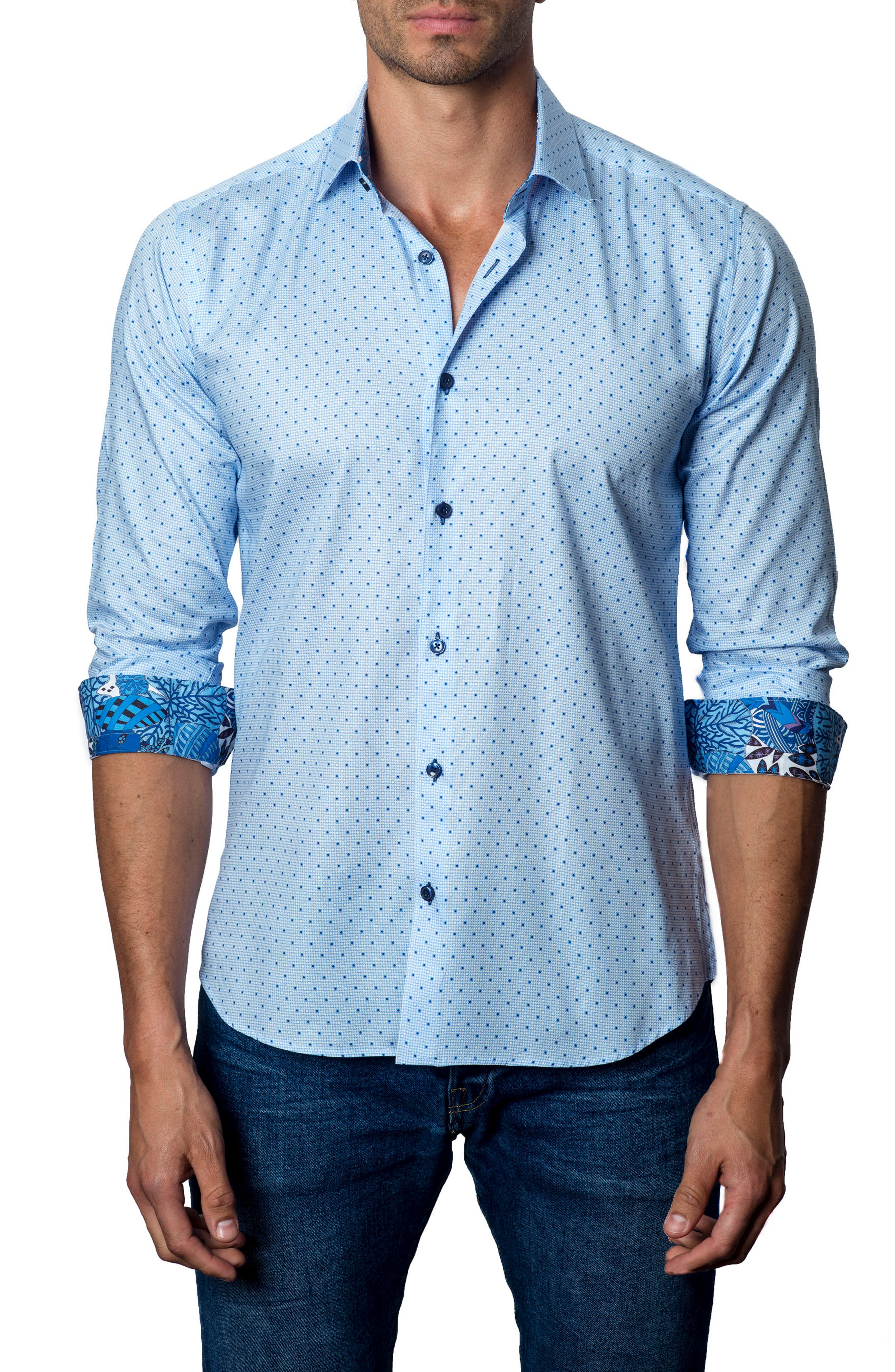 JARED LANG Trim Fit Dot Sport Shirt
