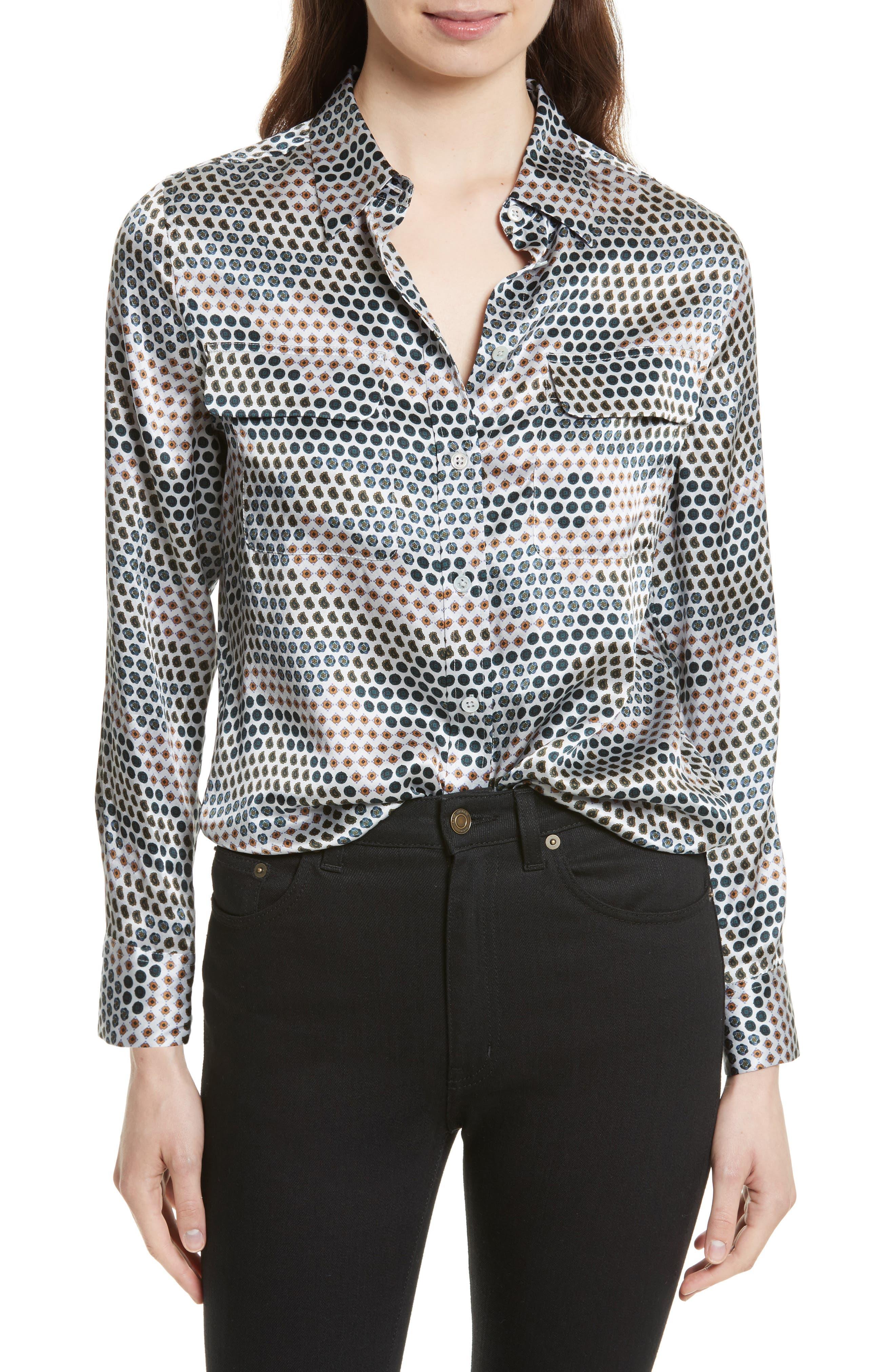 EQUIPMENT Slim Signature Print Silk Shirt