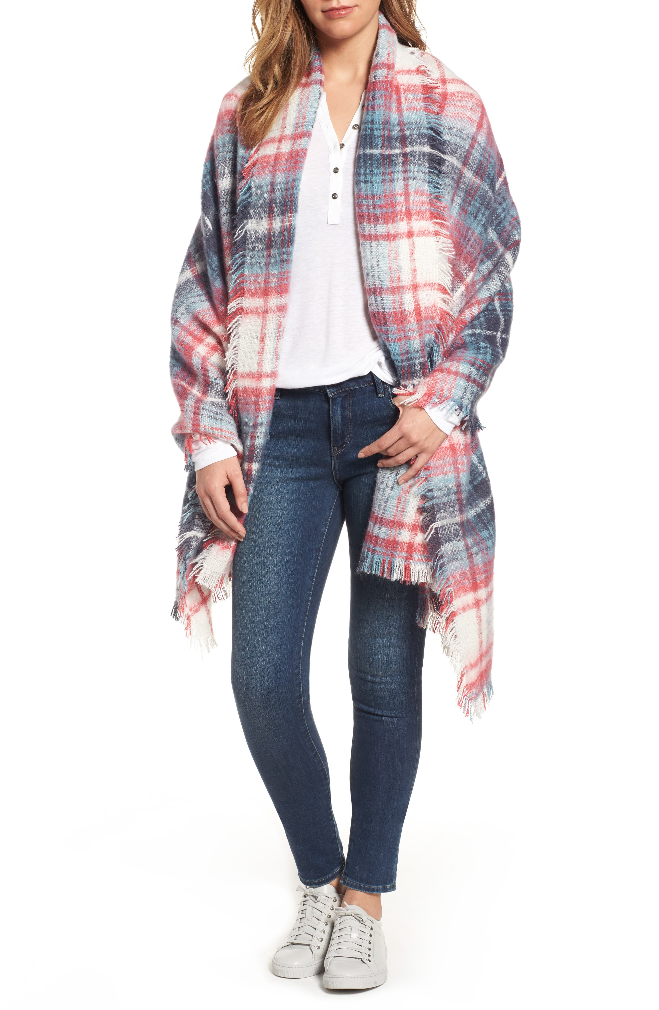 Tartan Blanket Wrap,                             Main thumbnail 1, color,                             Pink Combo