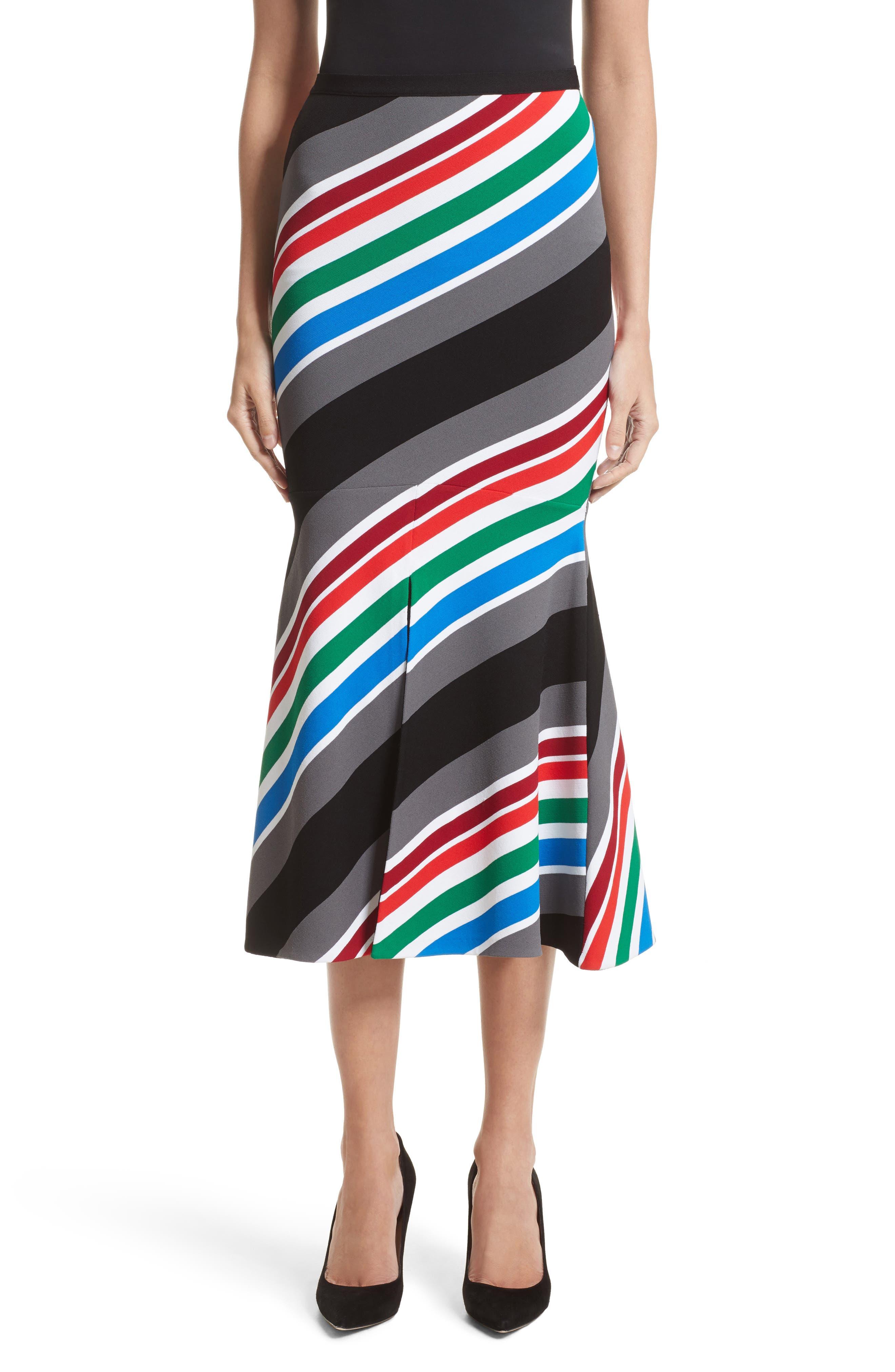 Oscar de la Renta Compact Knit Stripe Skirt