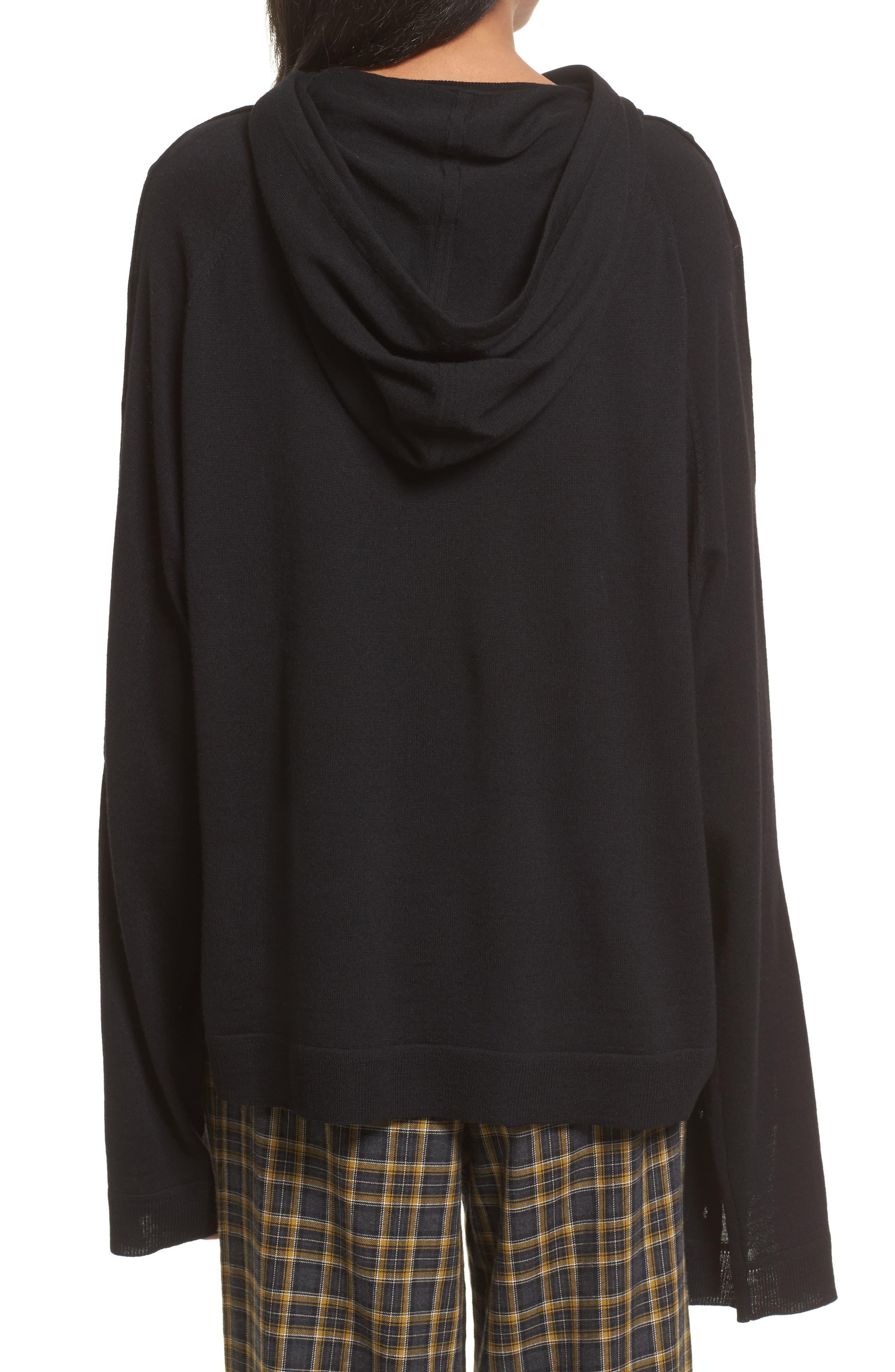 Merino Wool Reversible Hoodie,                             Alternate thumbnail 3, color,                             Black