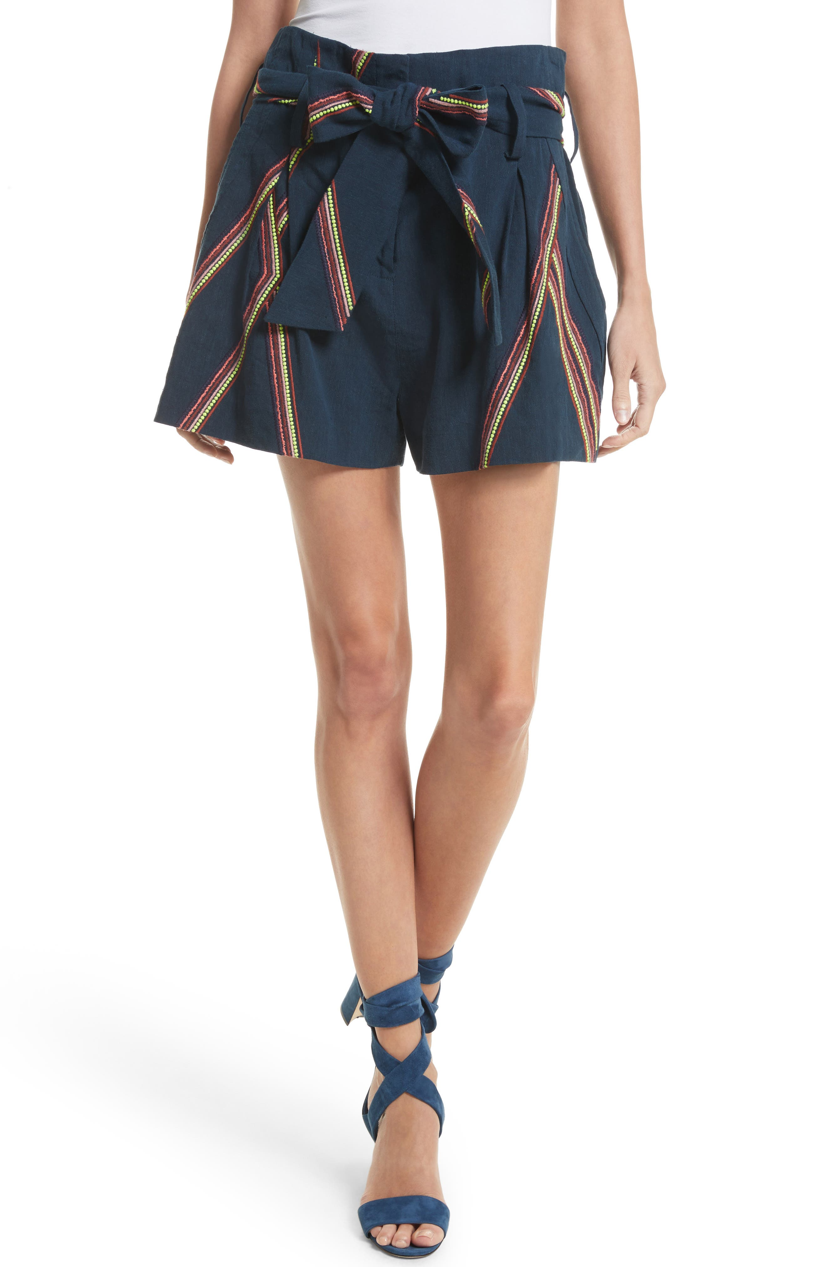 Tanya Taylor Jimi Embroidered Linen Blend Shorts