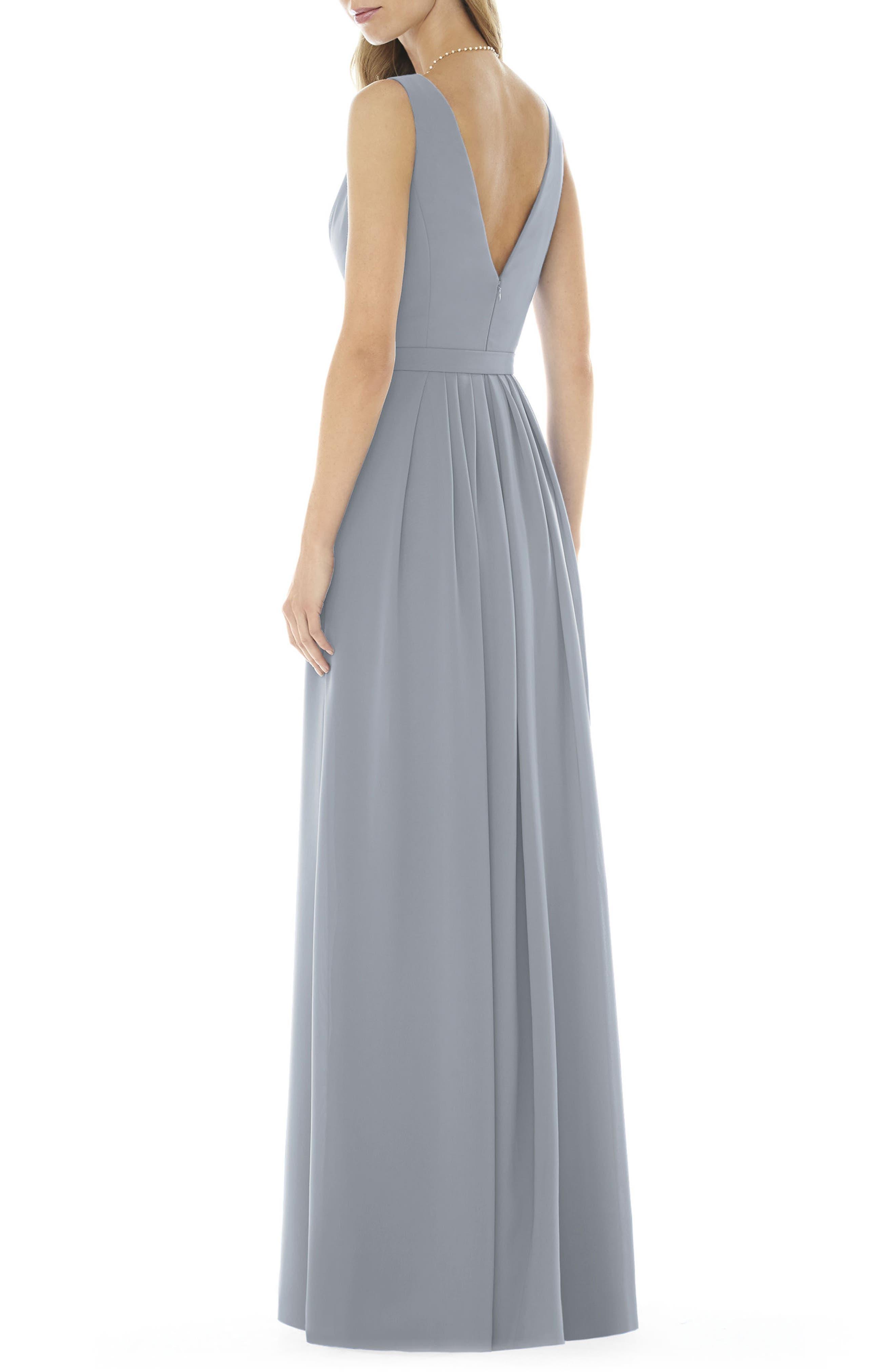 V-Neck Georgette Gown,                             Alternate thumbnail 2, color,                             Platinum