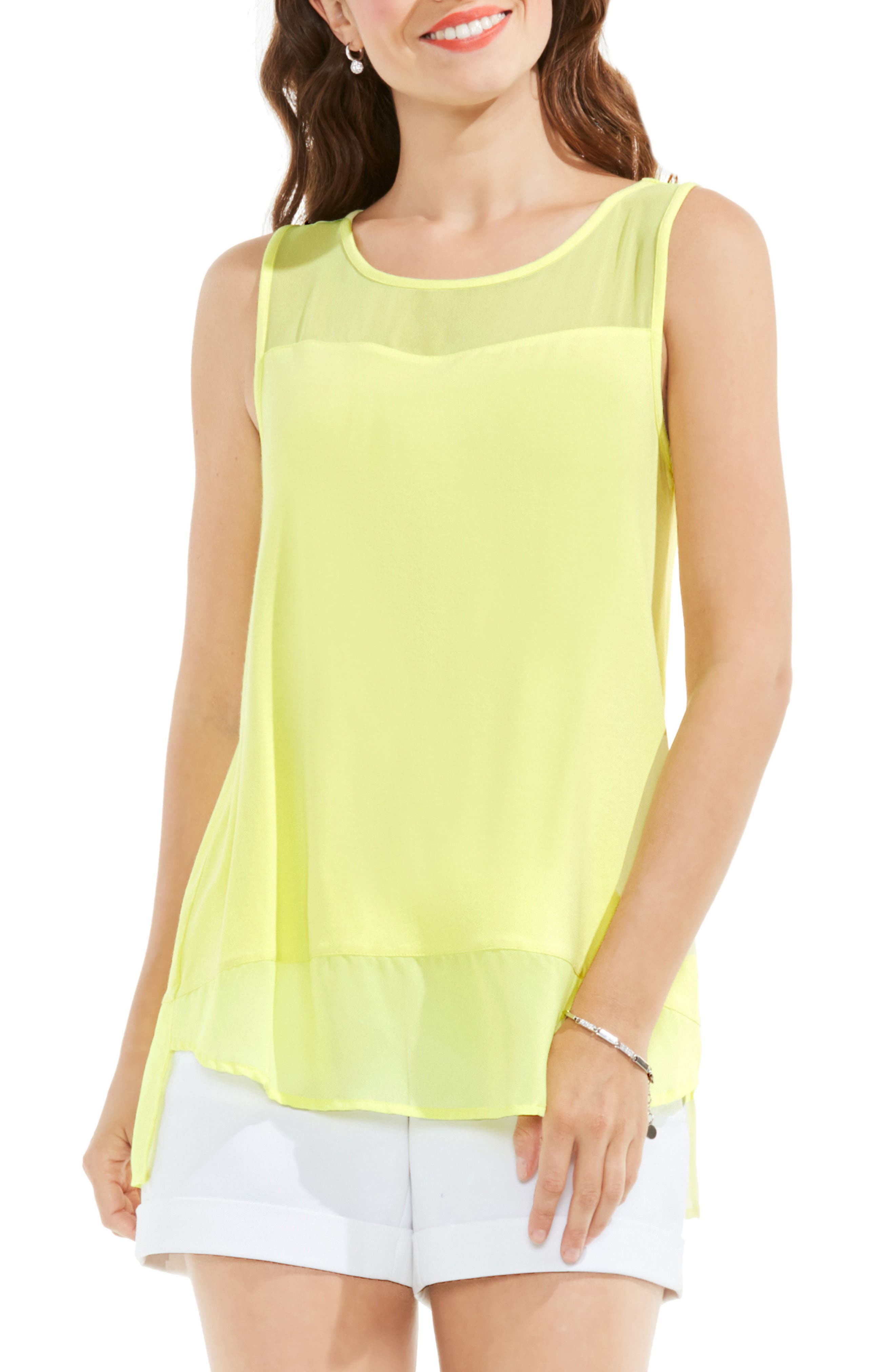 VINCE CAMUTO Chiffon Inset Jersey Top