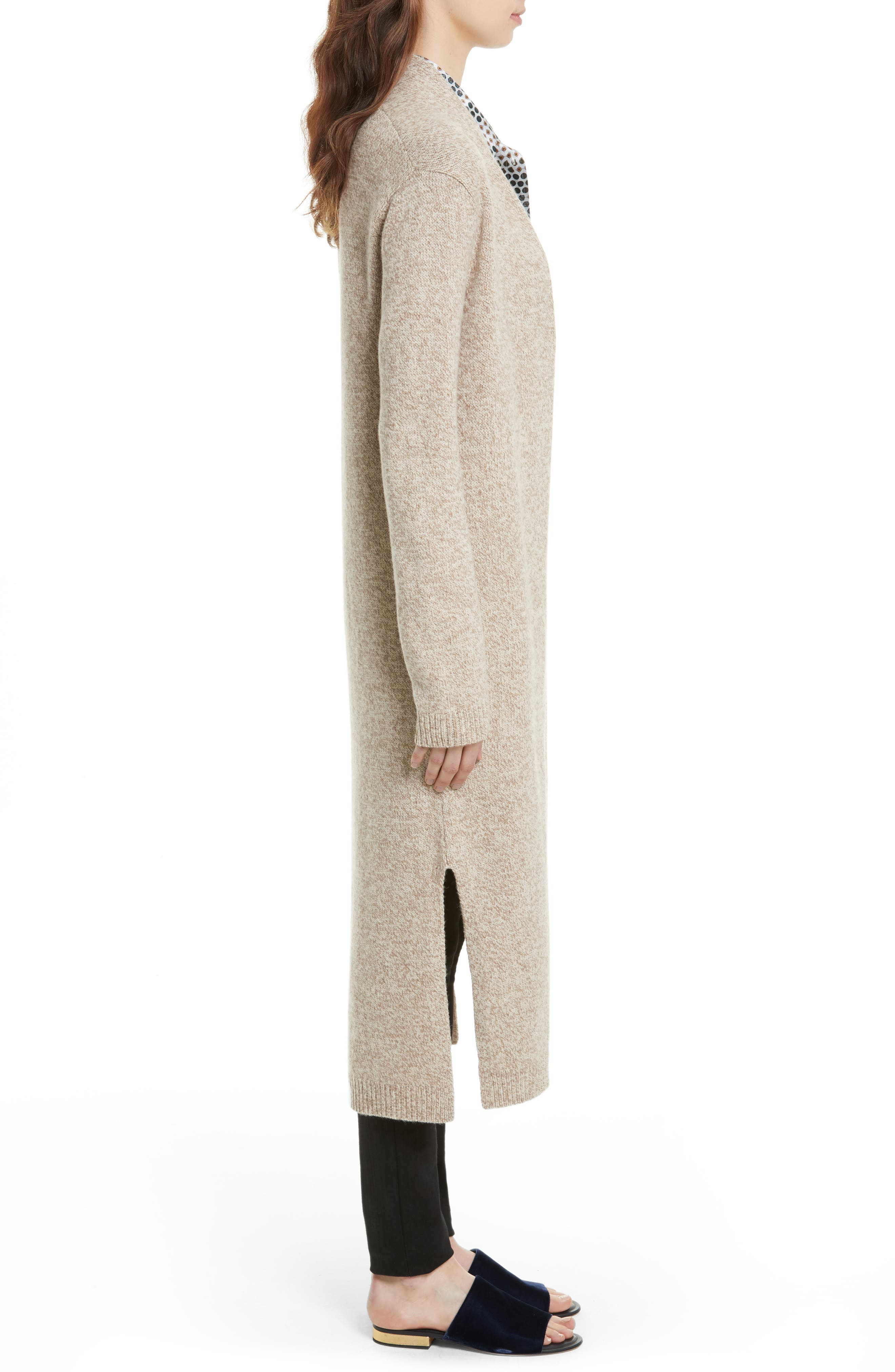 Thoren Long Wool Cardigan,                             Alternate thumbnail 3, color,                             Oatmeal Multi