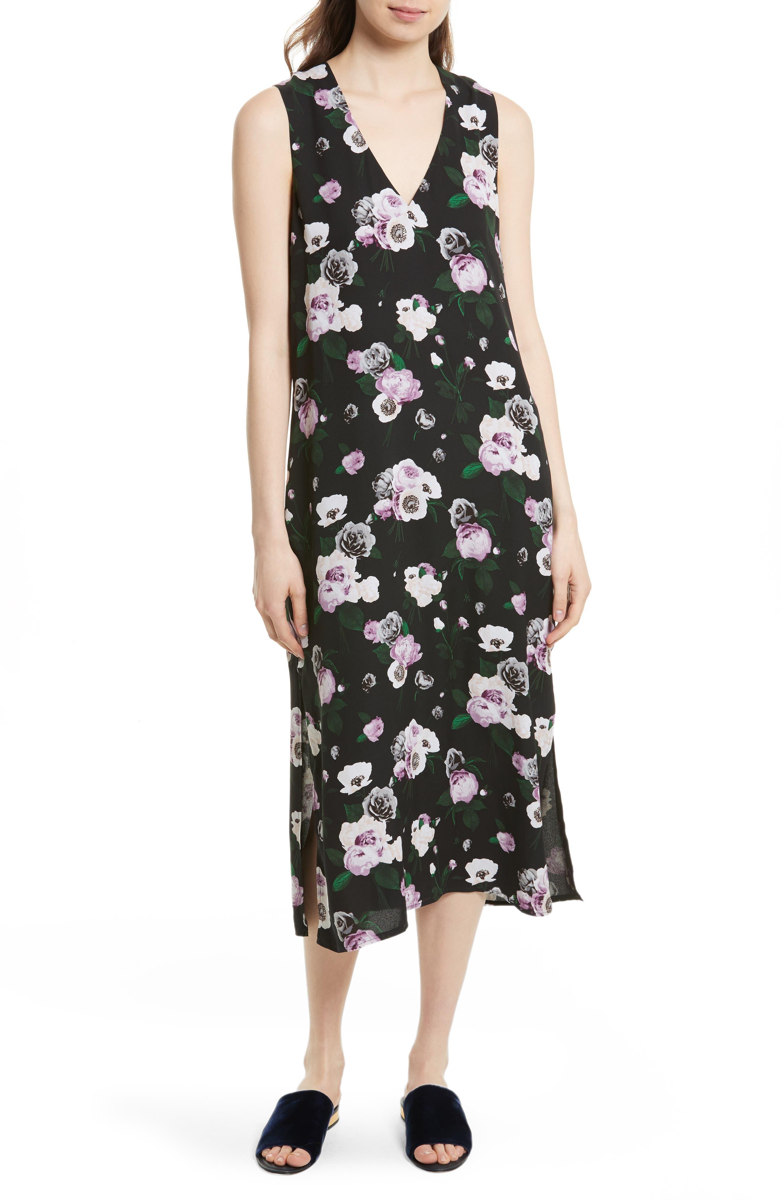 Equipment Connery Floral Silk Midi Dress