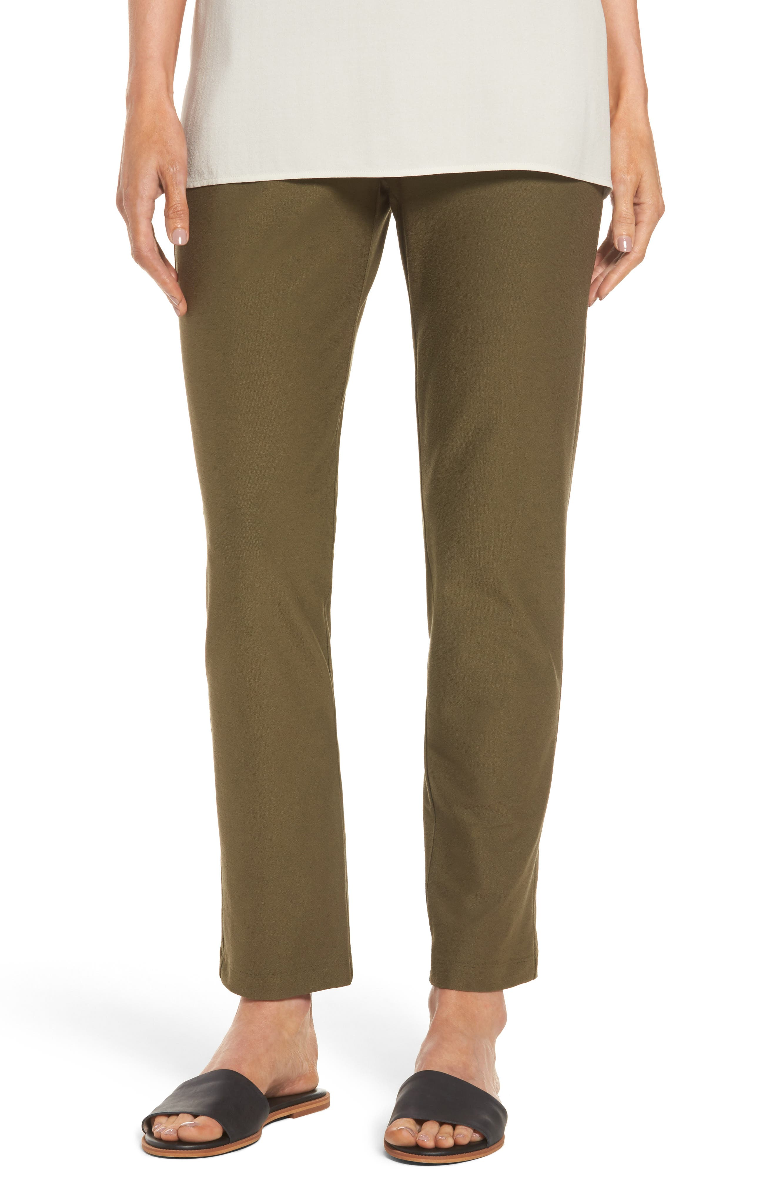 Stretch Crepe Slim Ankle Pants,                             Main thumbnail 1, color,                             Olive