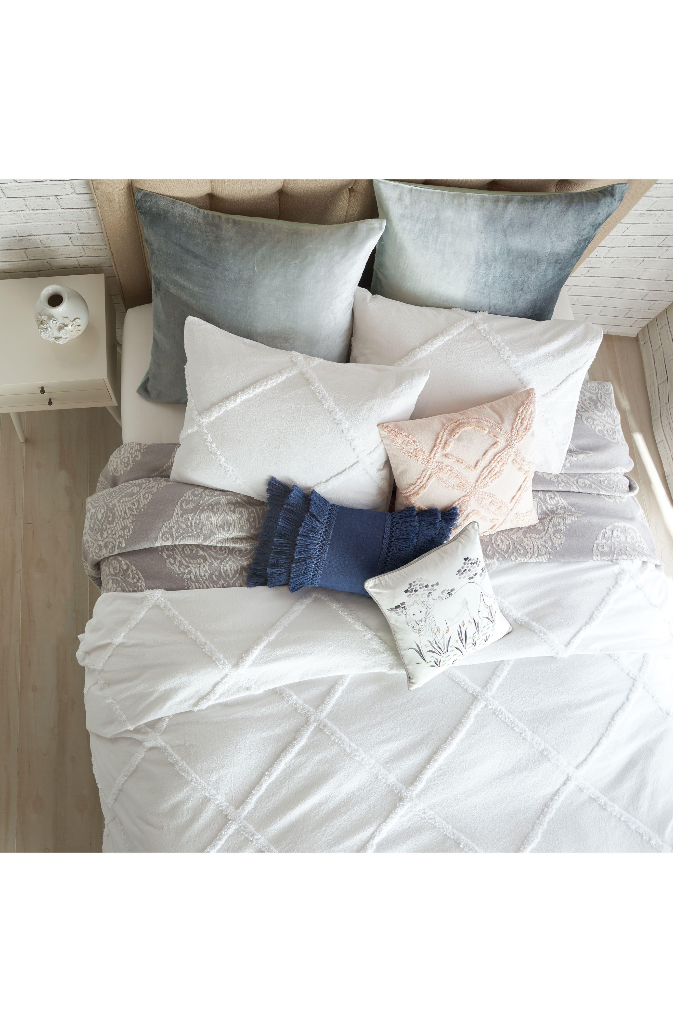 Chenille Lattice Duvet Cover,                         Main,                         color, White
