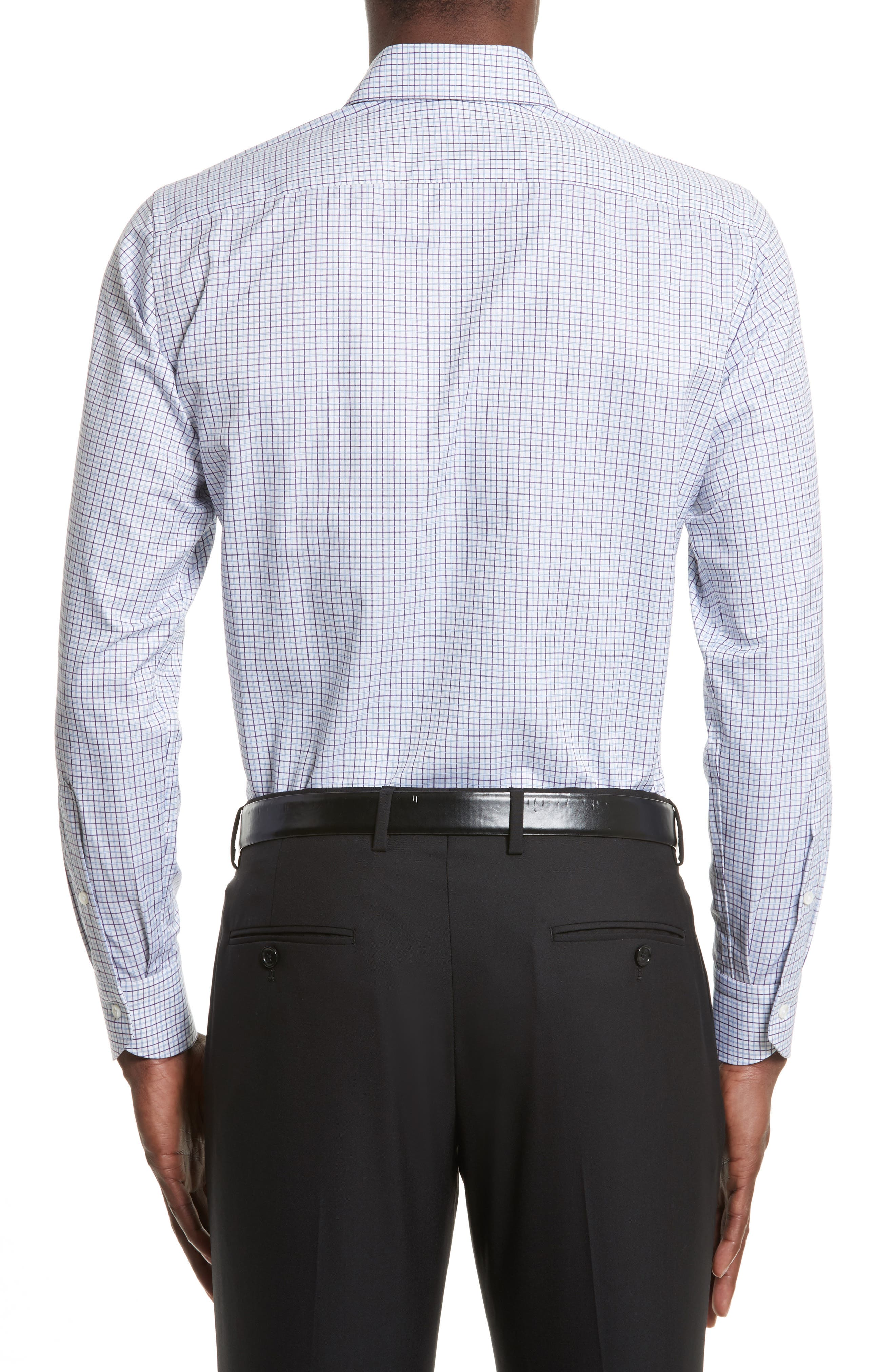 Regular Fit Check Dress Shirt,                             Alternate thumbnail 3, color,                             Purple