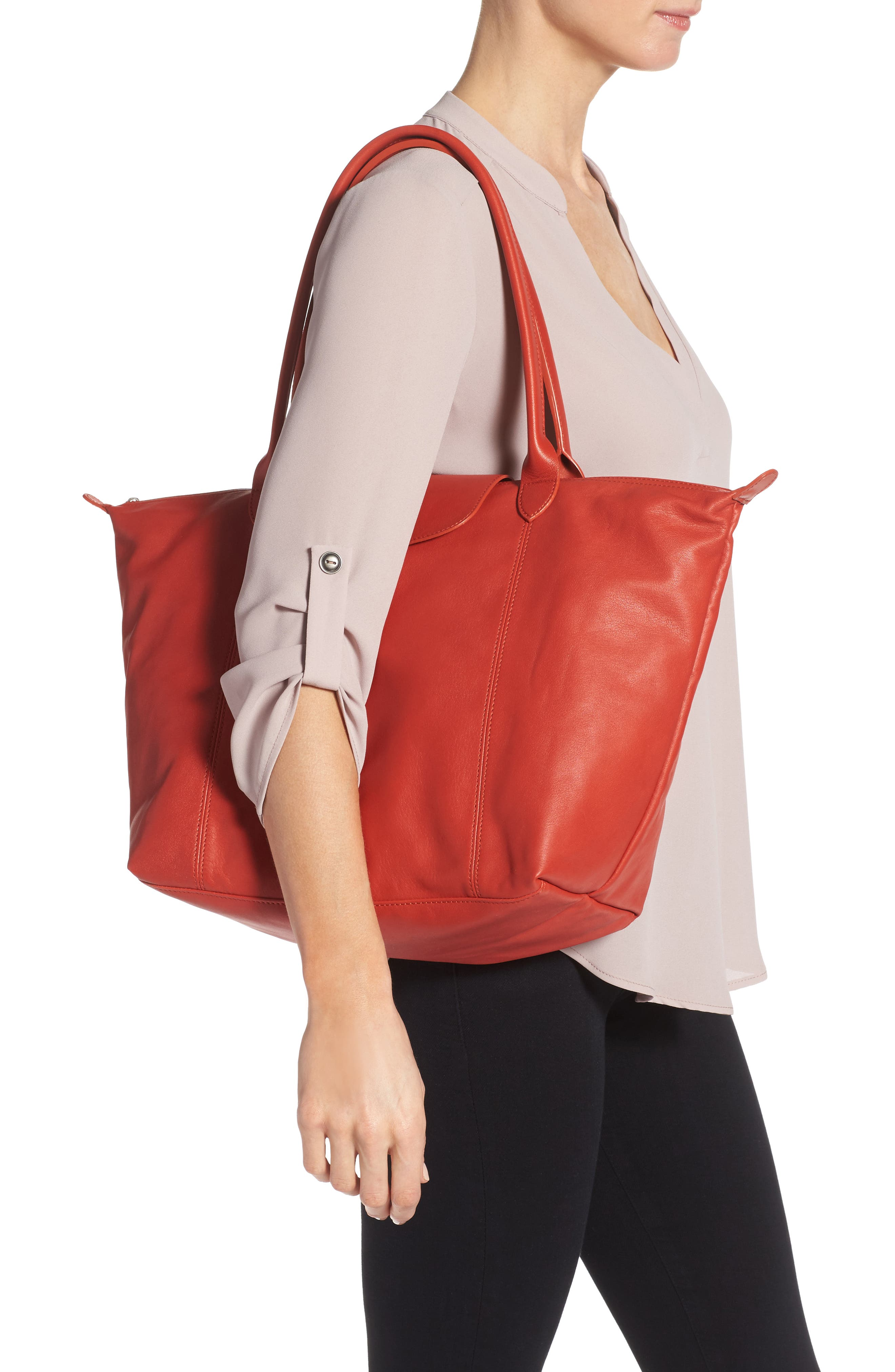 Alternate Image 2  - Longchamp Le Pliage Cuir Leather Tote (Nordstrom Exclusive)