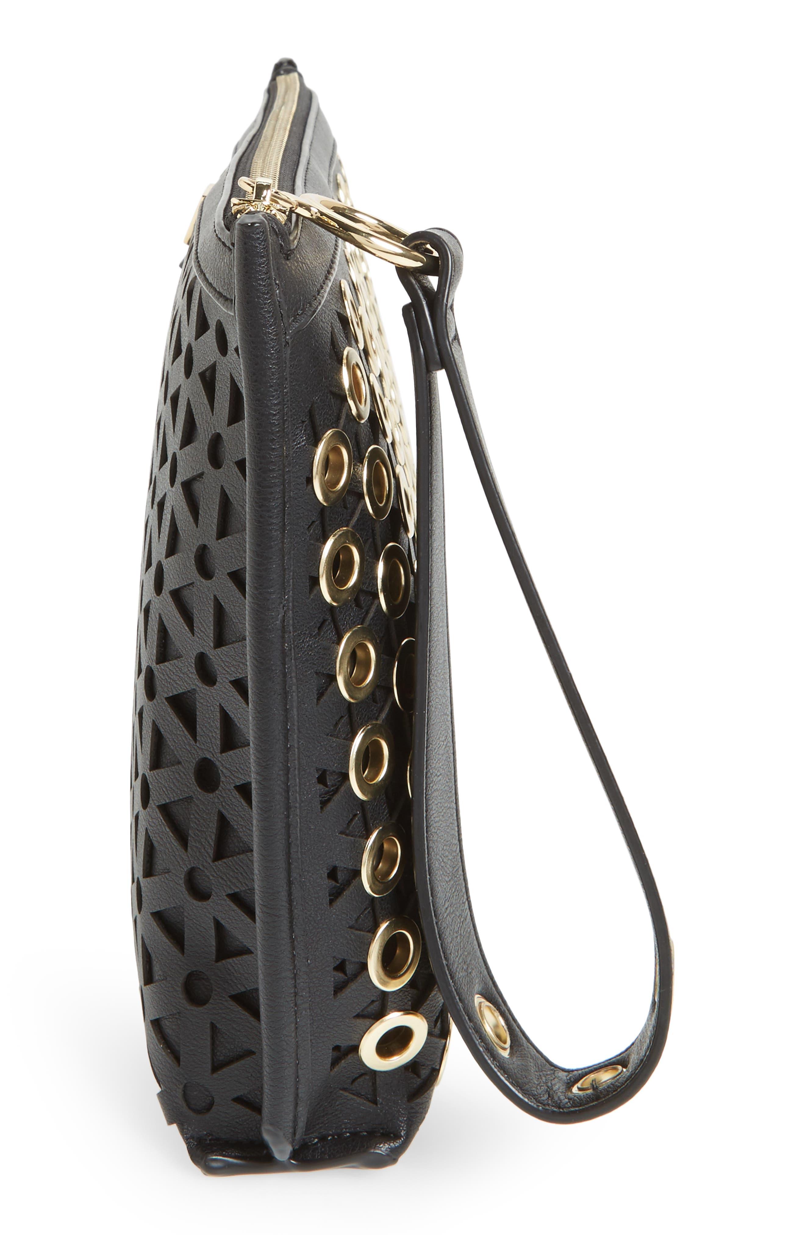 Skyler Faux Leather Clutch,                             Alternate thumbnail 3, color,                             Black