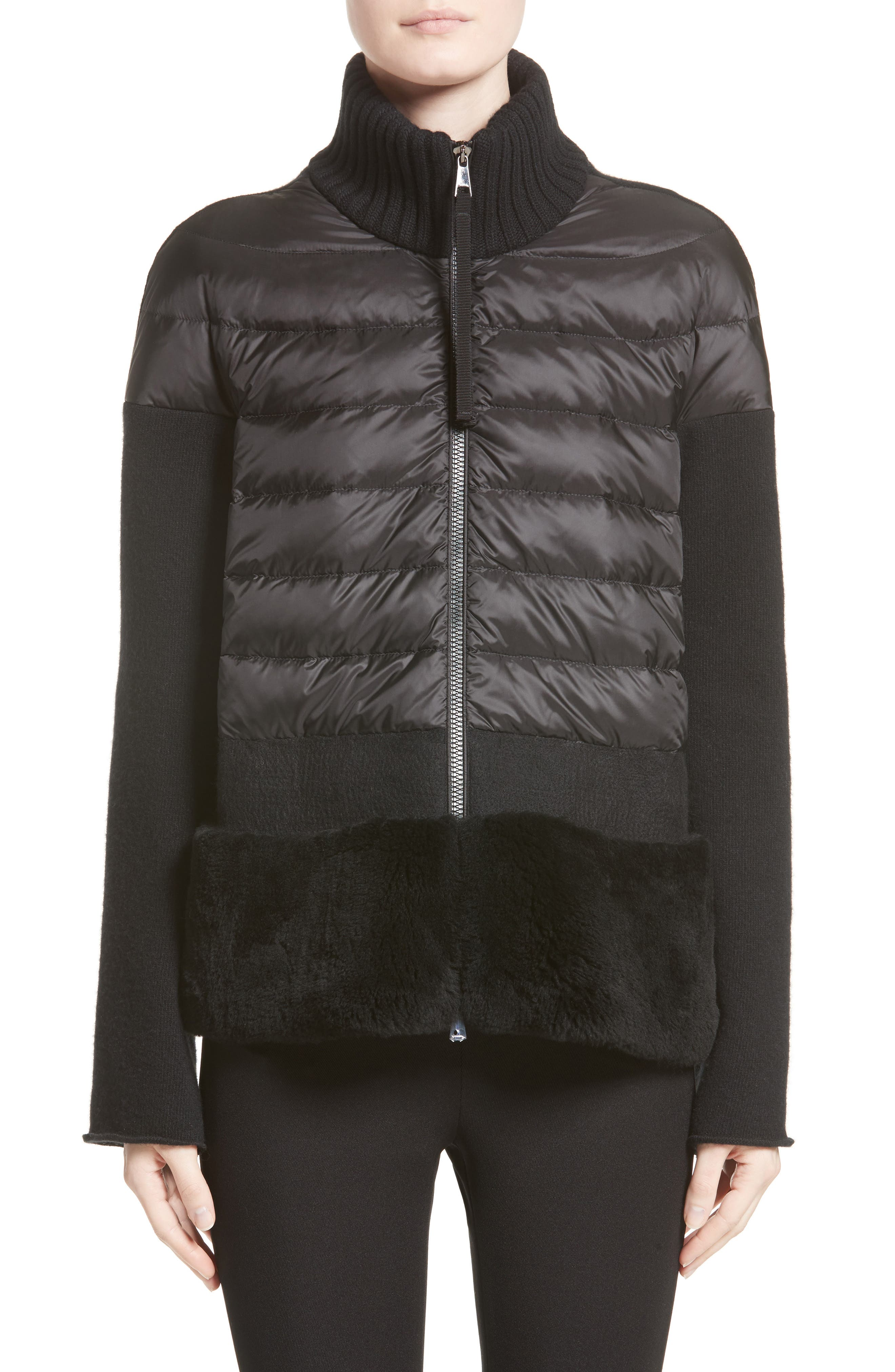 Genuine Shearling Trim Quilted Cardigan,                         Main,                         color, Black