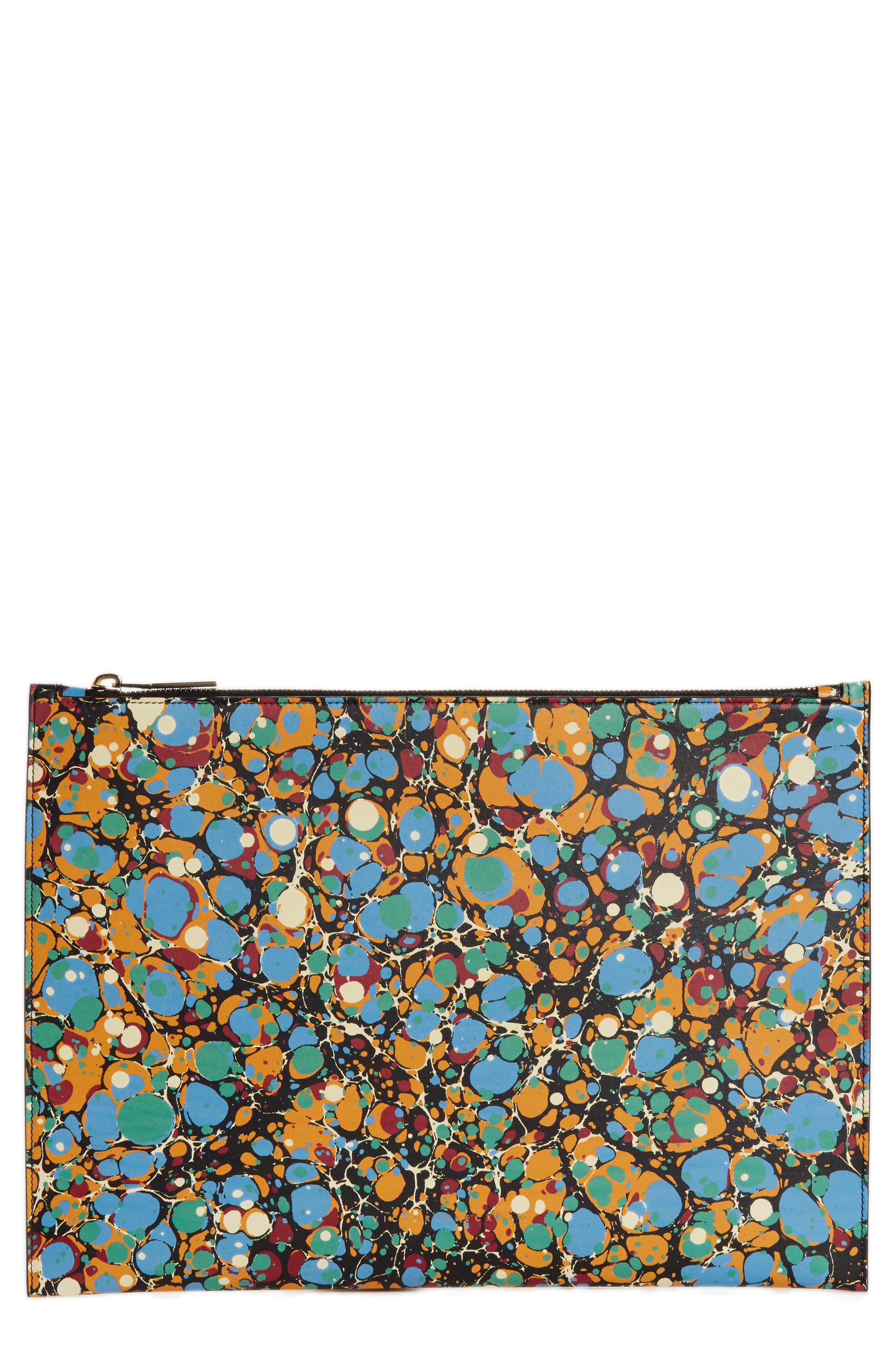 Largle Simple Marble Pouch,                         Main,                         color, Black Marble Print