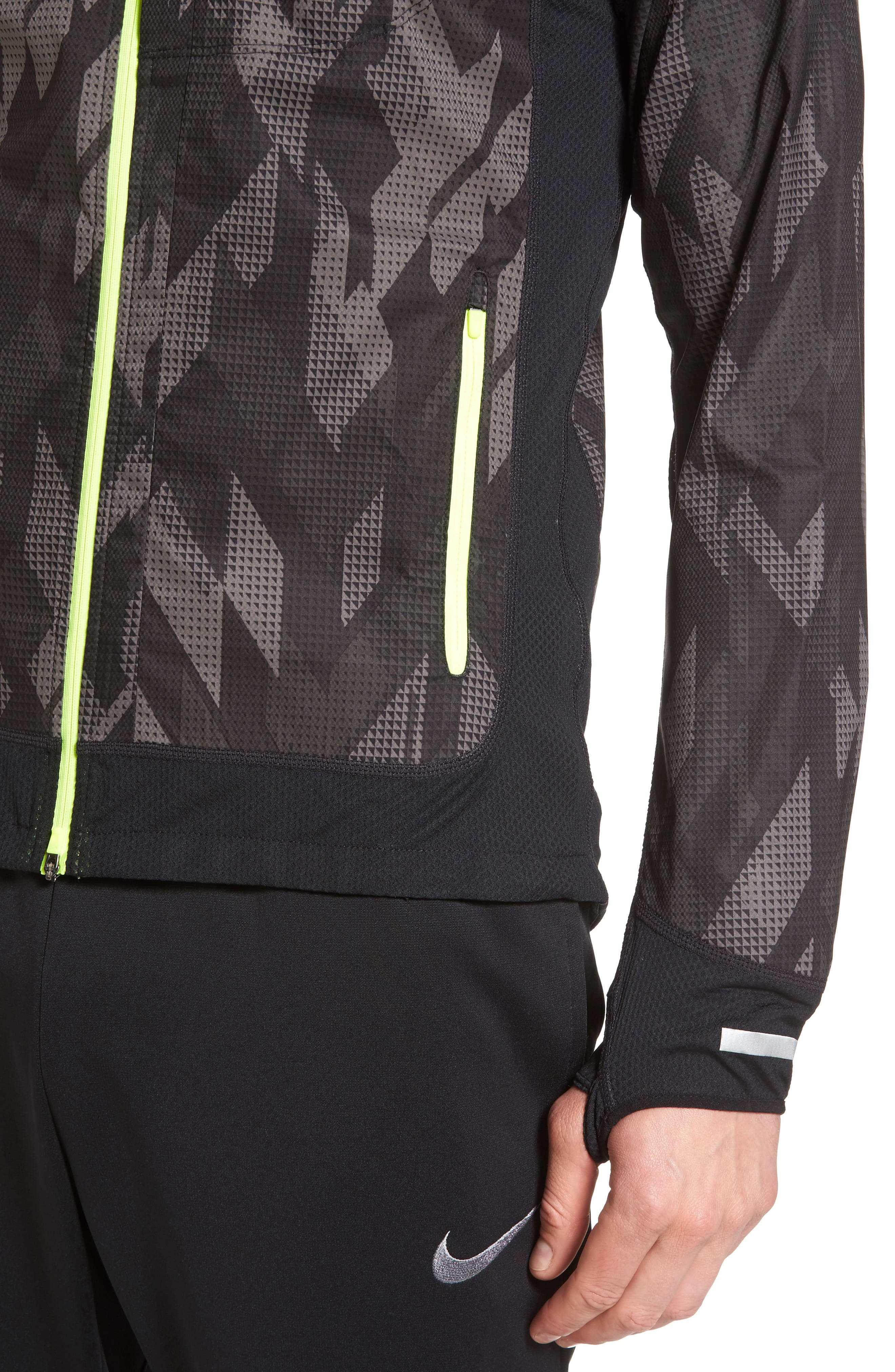 Flex Running Jacket,                             Alternate thumbnail 3, color,                             Black/ Black/ Volt