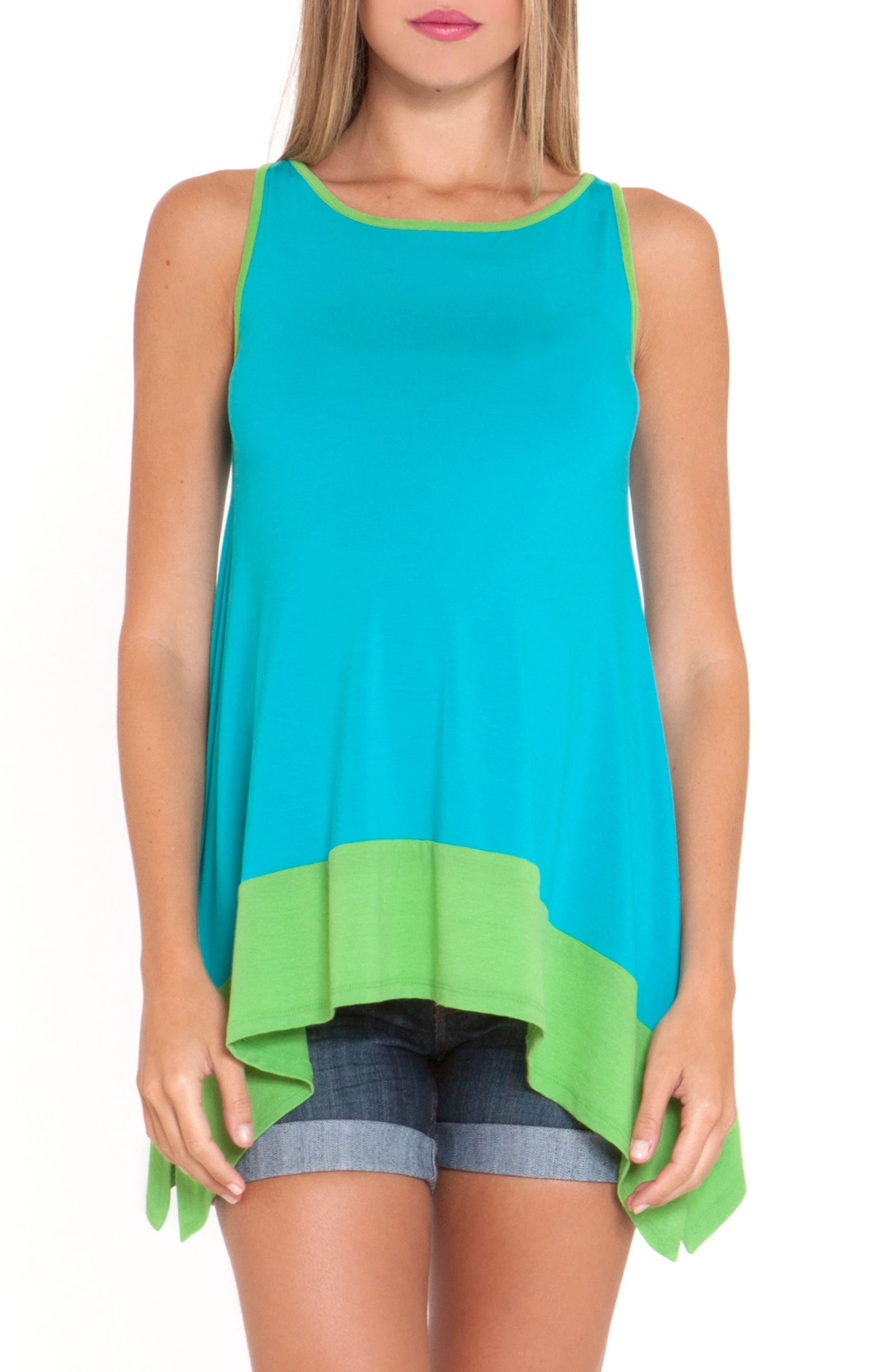 'Margarette' Swing Maternity Top,                         Main,                         color, Aqua/ Green